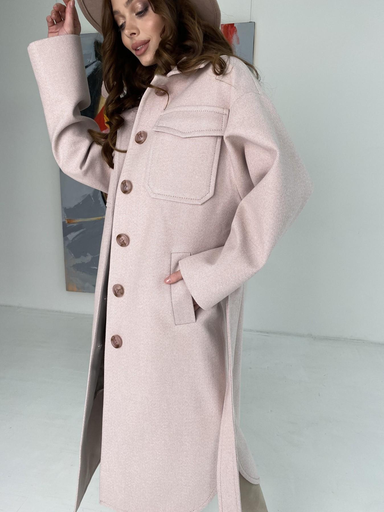 Ола  пальто в мелкую елочку из пальтовой ткани 10648 АРТ. 46989 Цвет: Пудра - фото 7, интернет магазин tm-modus.ru
