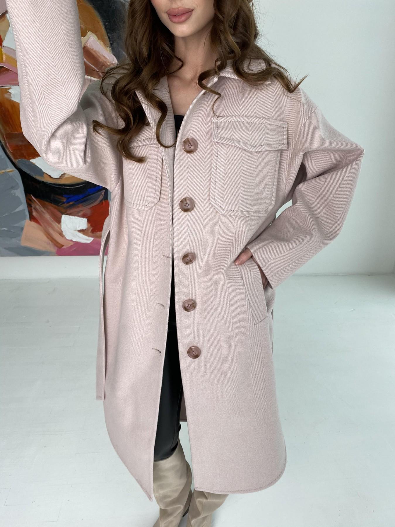 Ола  пальто в мелкую елочку из пальтовой ткани 10648 АРТ. 46989 Цвет: Пудра - фото 8, интернет магазин tm-modus.ru