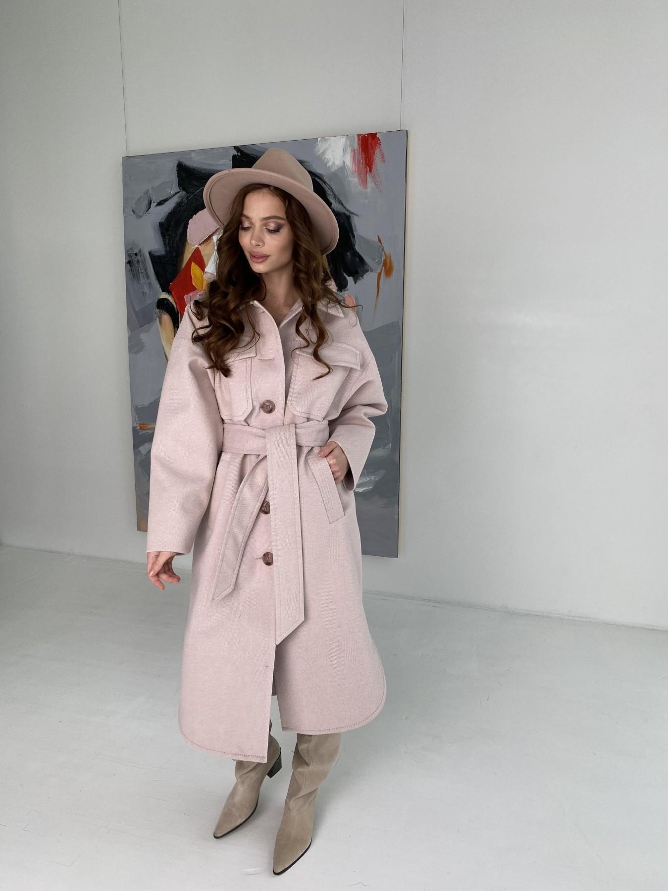 Ола  пальто в мелкую елочку из пальтовой ткани 10648 АРТ. 46989 Цвет: Пудра - фото 10, интернет магазин tm-modus.ru