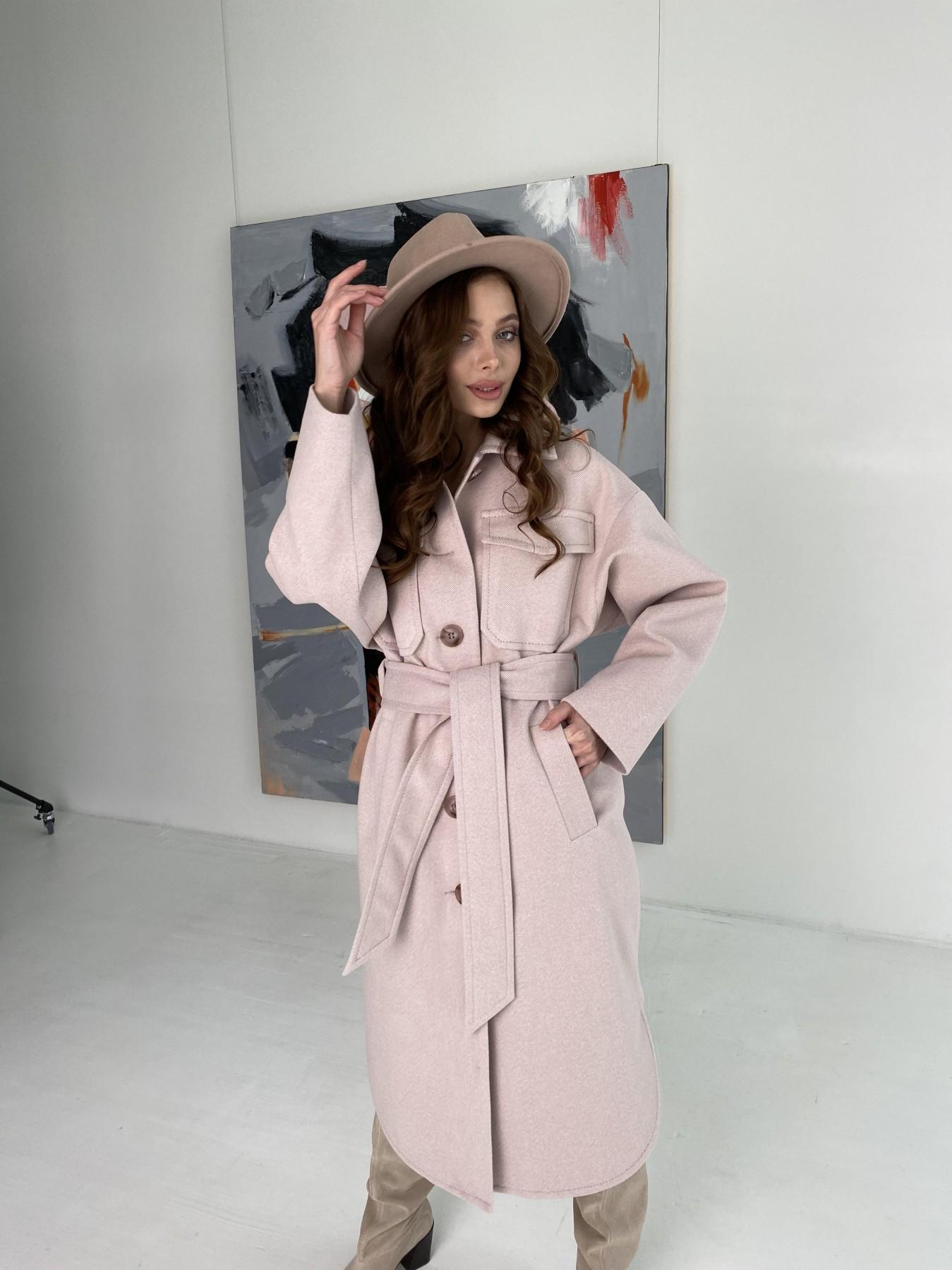 Ола  пальто в мелкую елочку из пальтовой ткани 10648 АРТ. 46989 Цвет: Пудра - фото 11, интернет магазин tm-modus.ru