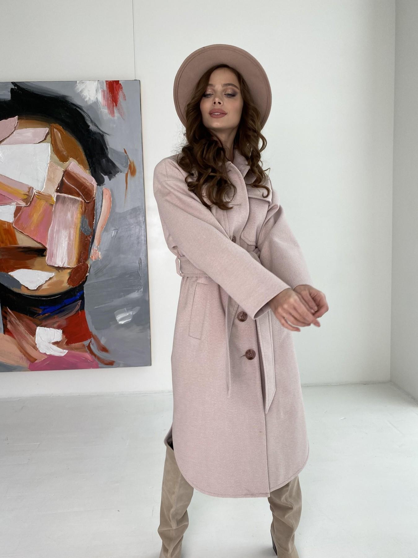 Ола  пальто в мелкую елочку из пальтовой ткани 10648 АРТ. 46989 Цвет: Пудра - фото 12, интернет магазин tm-modus.ru