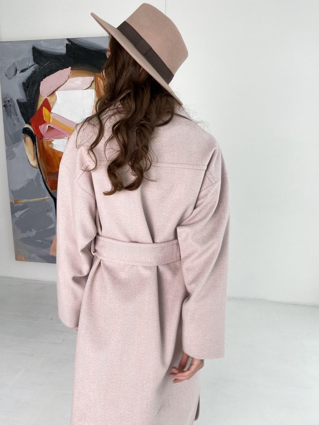 Ола  пальто в мелкую елочку из пальтовой ткани 10648 АРТ. 46989 Цвет: Пудра - фото 13, интернет магазин tm-modus.ru