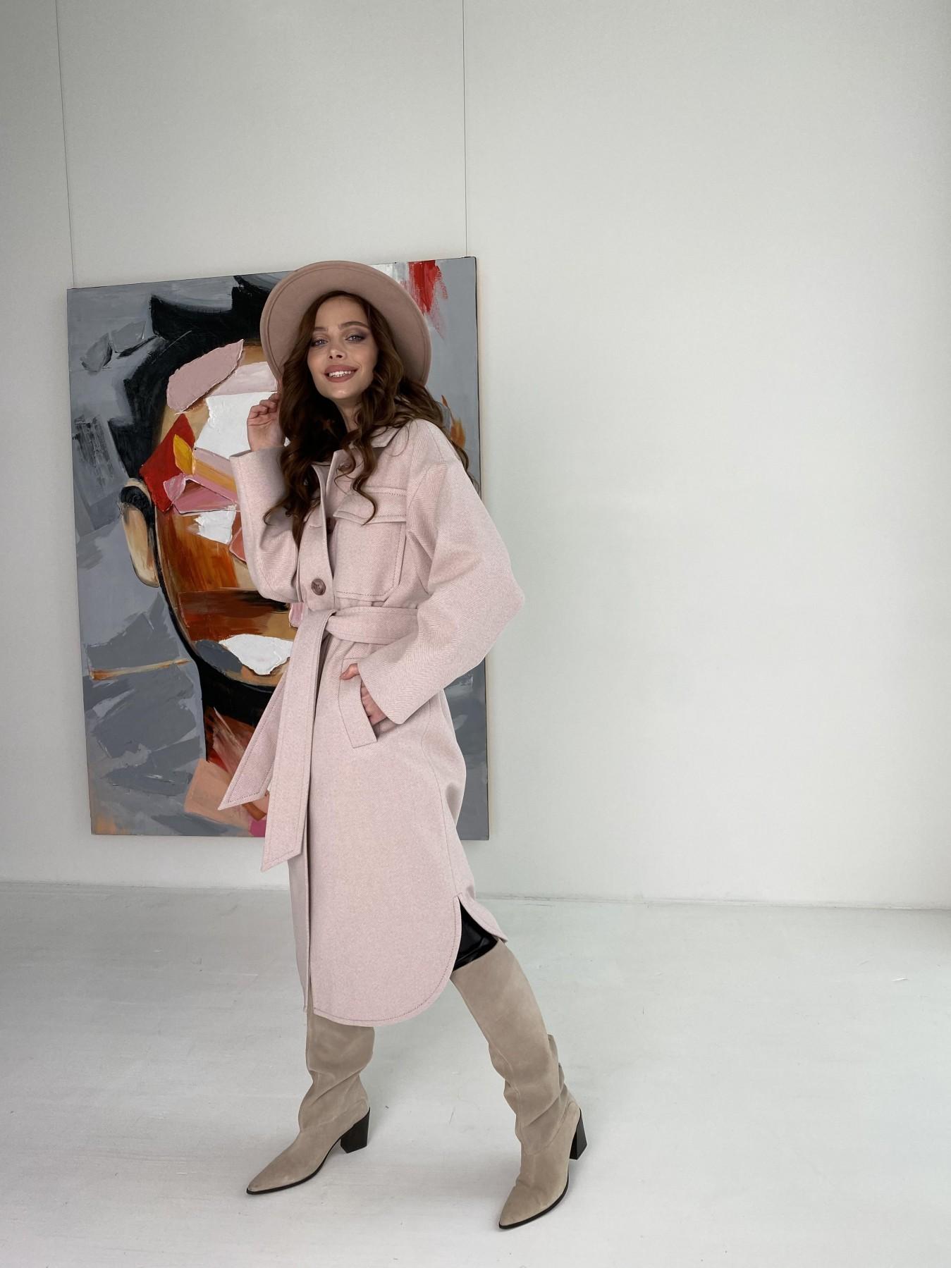 Ола  пальто в мелкую елочку из пальтовой ткани 10648 АРТ. 46989 Цвет: Пудра - фото 14, интернет магазин tm-modus.ru