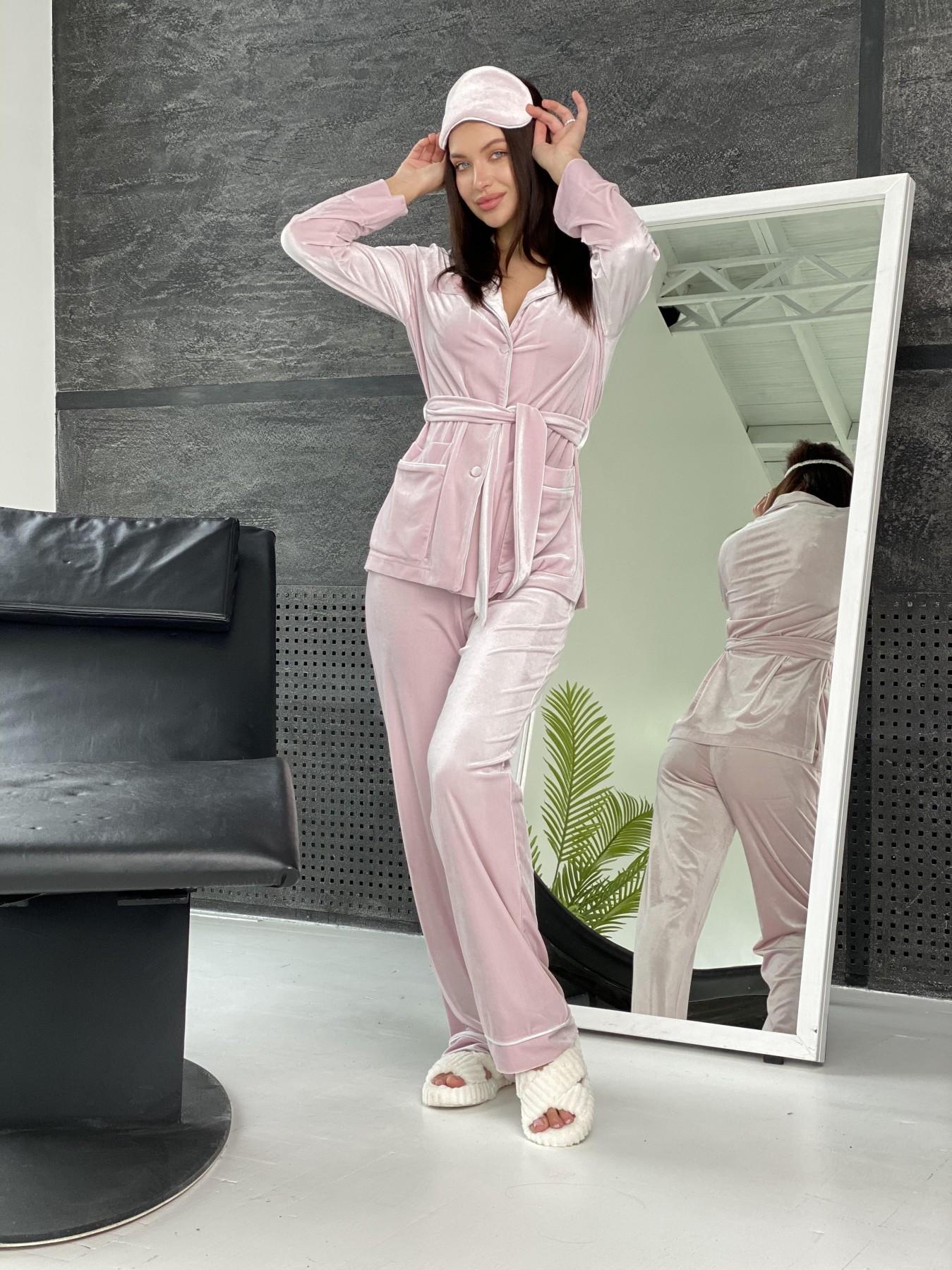 Шайн пижама велюр жакет брюки маска для сна 10353 АРТ. 47088 Цвет: Розовый - фото 6, интернет магазин tm-modus.ru