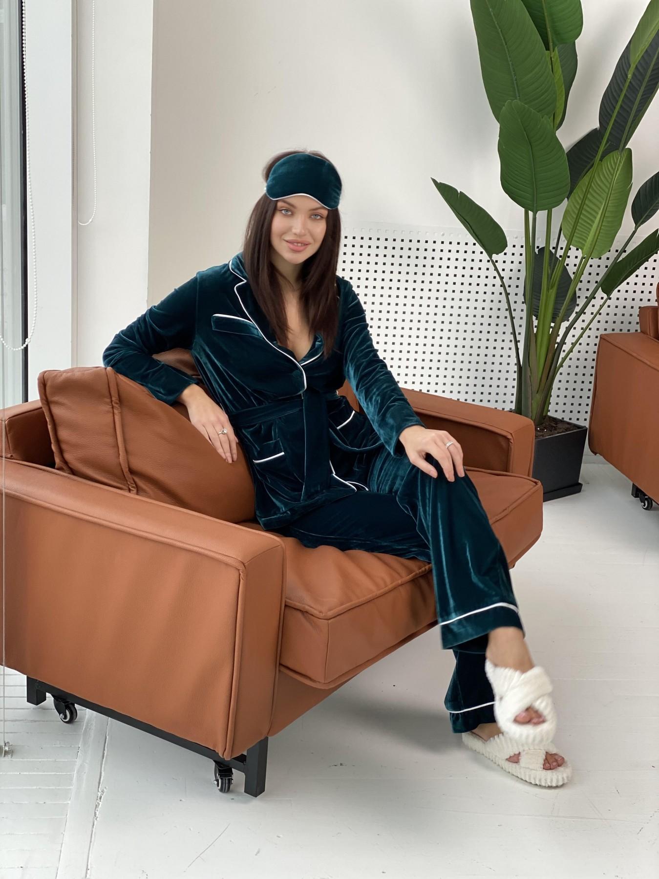 Шайн пижама велюр жакет брюки маска для сна 10353 АРТ. 47087 Цвет: Зеленый Темный - фото 1, интернет магазин tm-modus.ru
