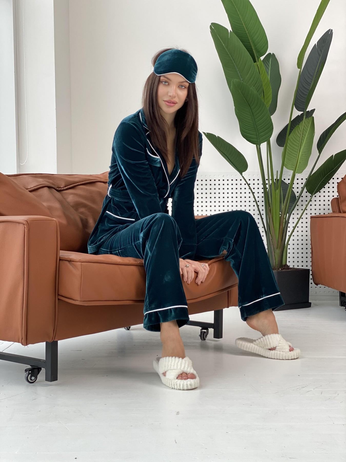 Шайн пижама велюр жакет брюки маска для сна 10353 АРТ. 47087 Цвет: Зеленый Темный - фото 2, интернет магазин tm-modus.ru