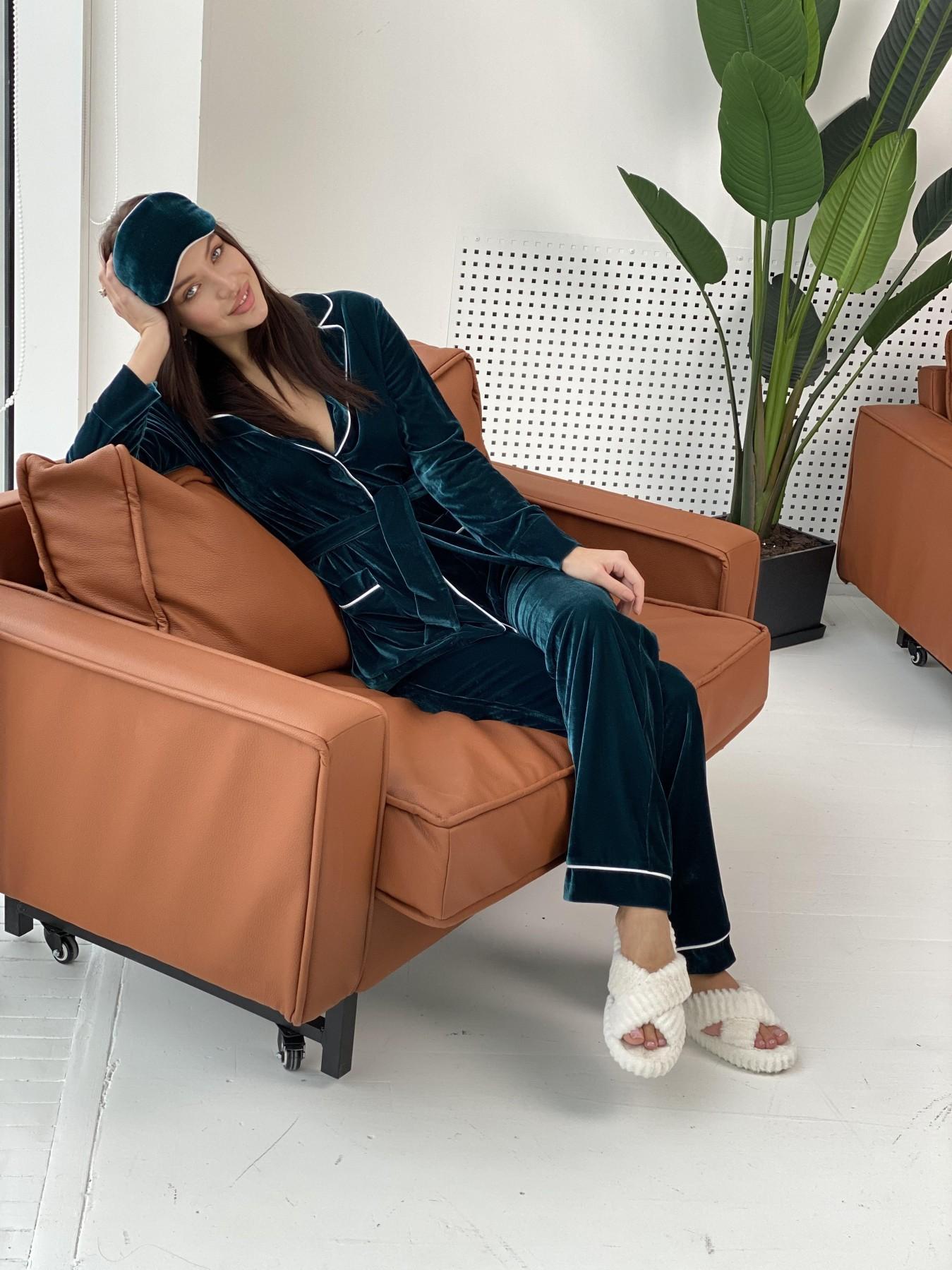 Шайн пижама велюр жакет брюки маска для сна 10353