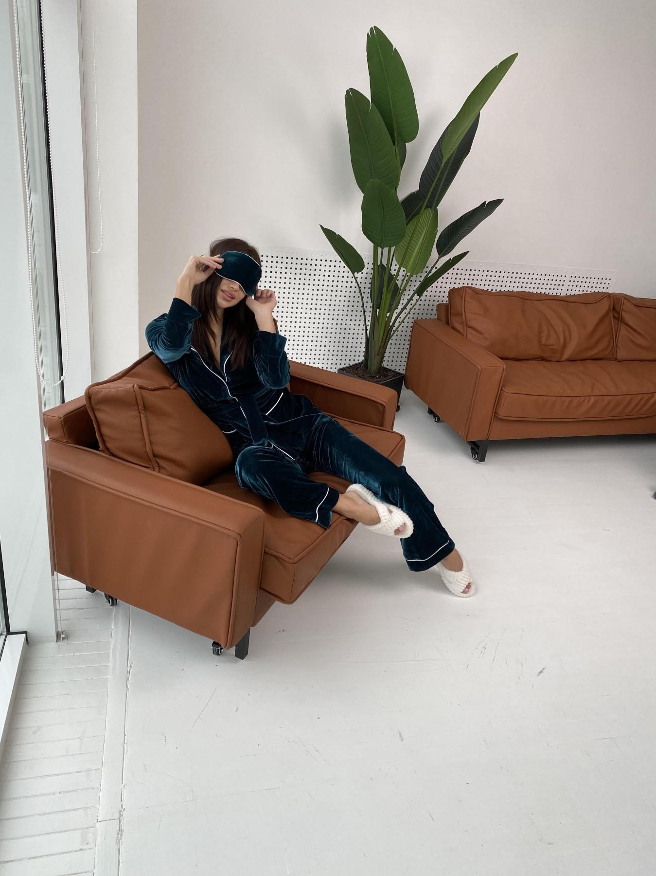Шайн пижама велюр жакет брюки маска для сна 10353 АРТ. 47087 Цвет: Зеленый Темный - фото 7, интернет магазин tm-modus.ru
