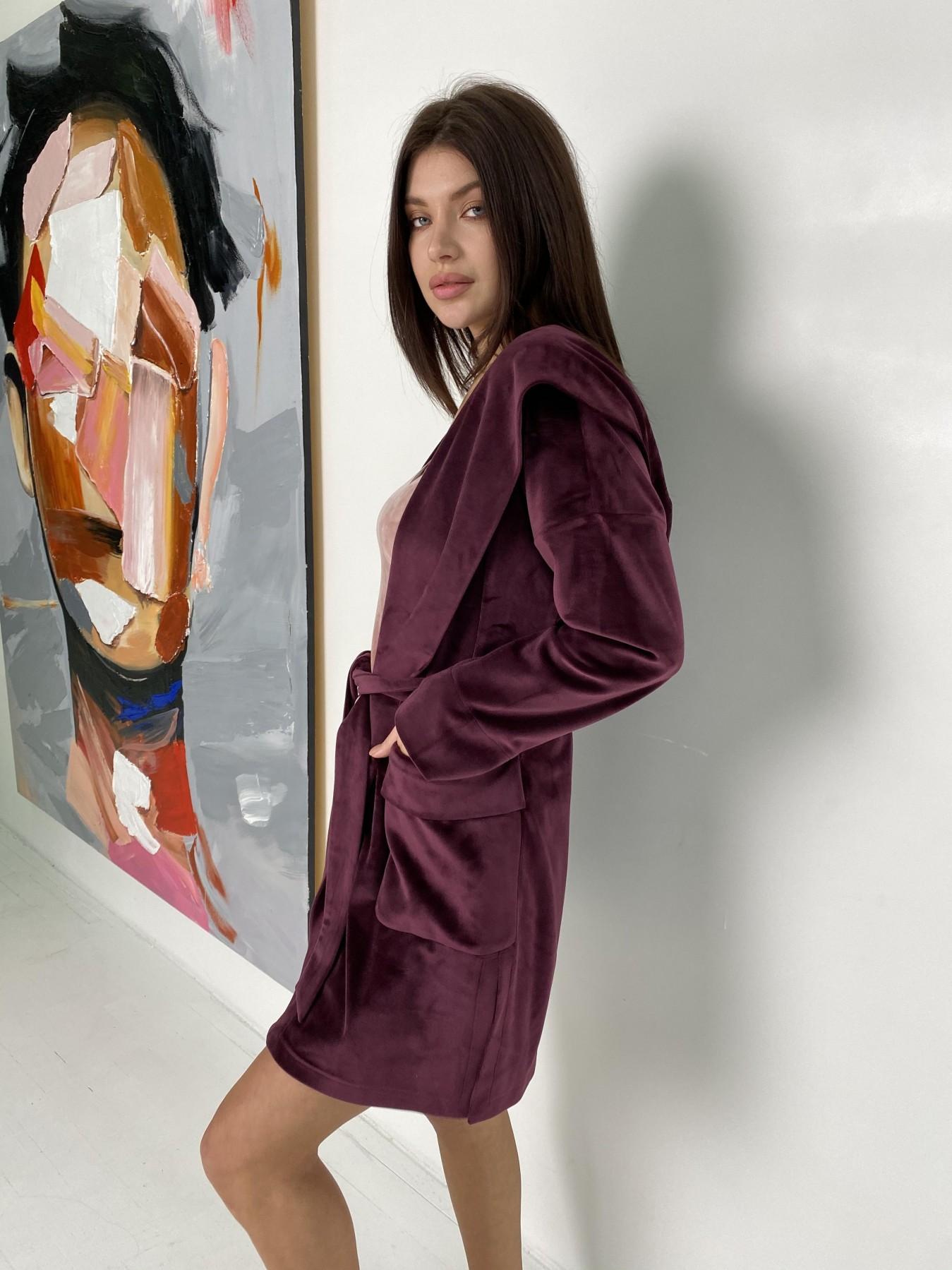 Фабьен халат из  велюровой ткани  10483 АРТ. 46840 Цвет: Марсала - фото 1, интернет магазин tm-modus.ru