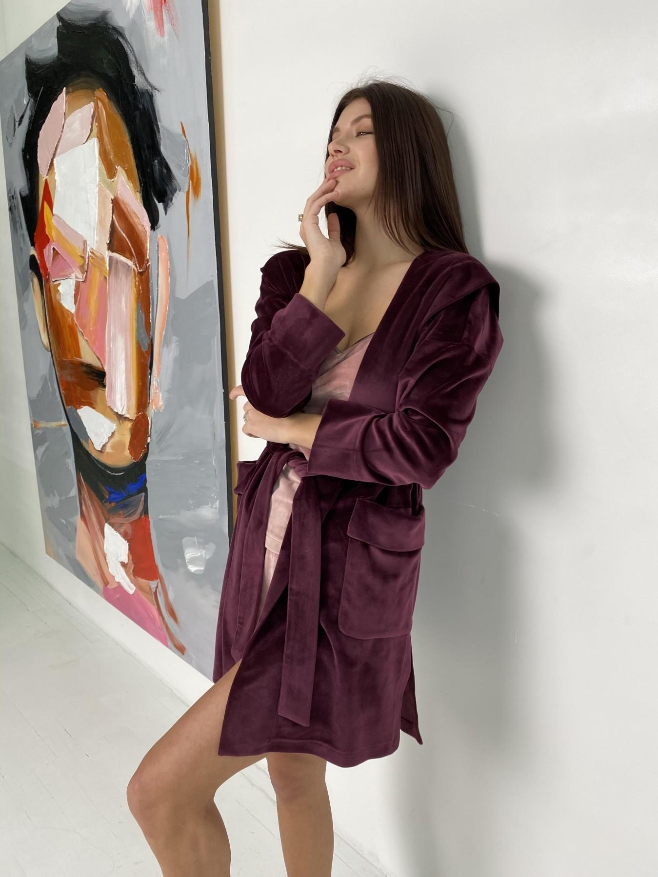 Фабьен халат из  велюровой ткани  10483 АРТ. 46840 Цвет: Марсала - фото 2, интернет магазин tm-modus.ru