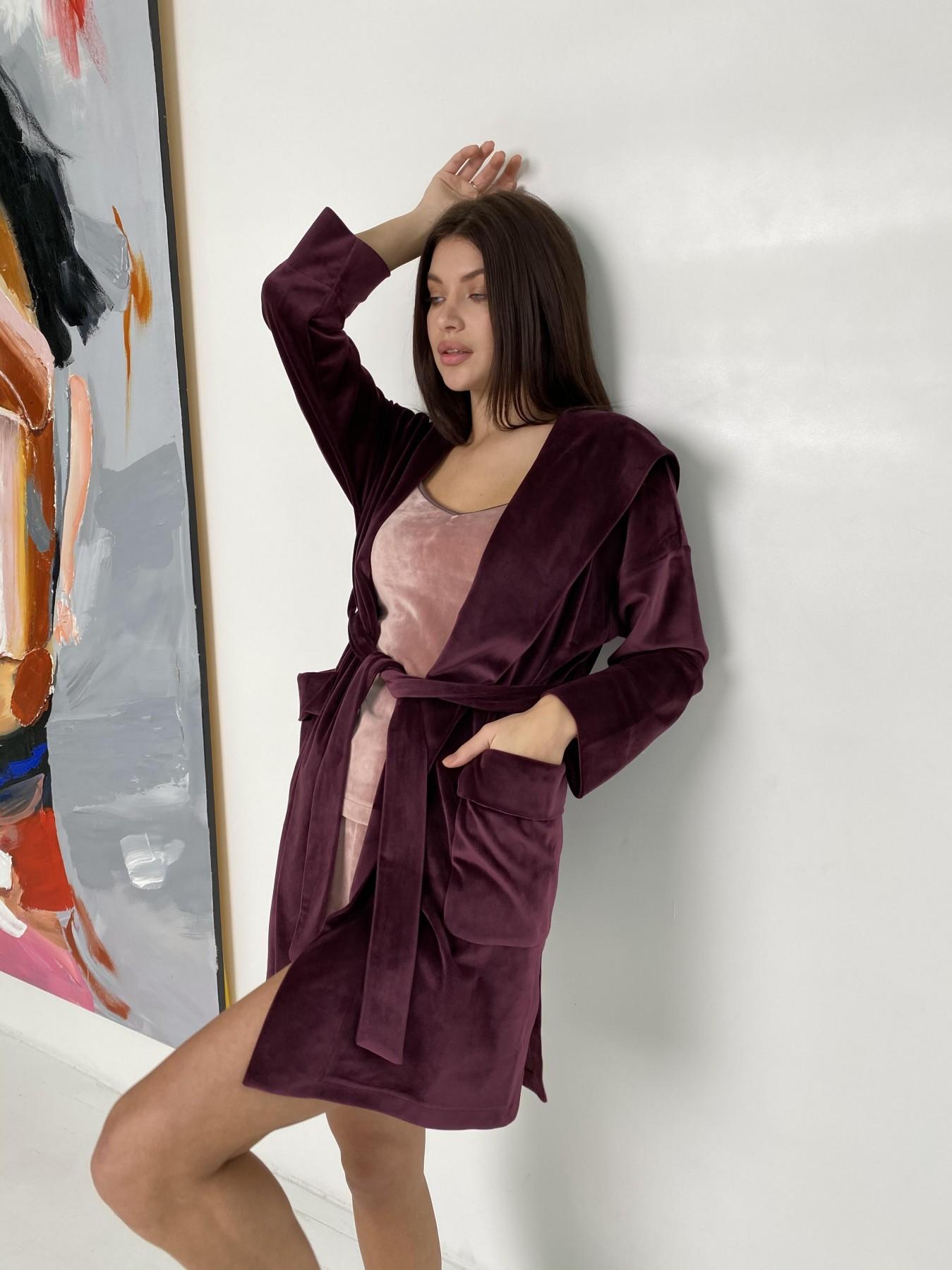 Фабьен халат из  велюровой ткани  10483 АРТ. 46840 Цвет: Марсала - фото 3, интернет магазин tm-modus.ru