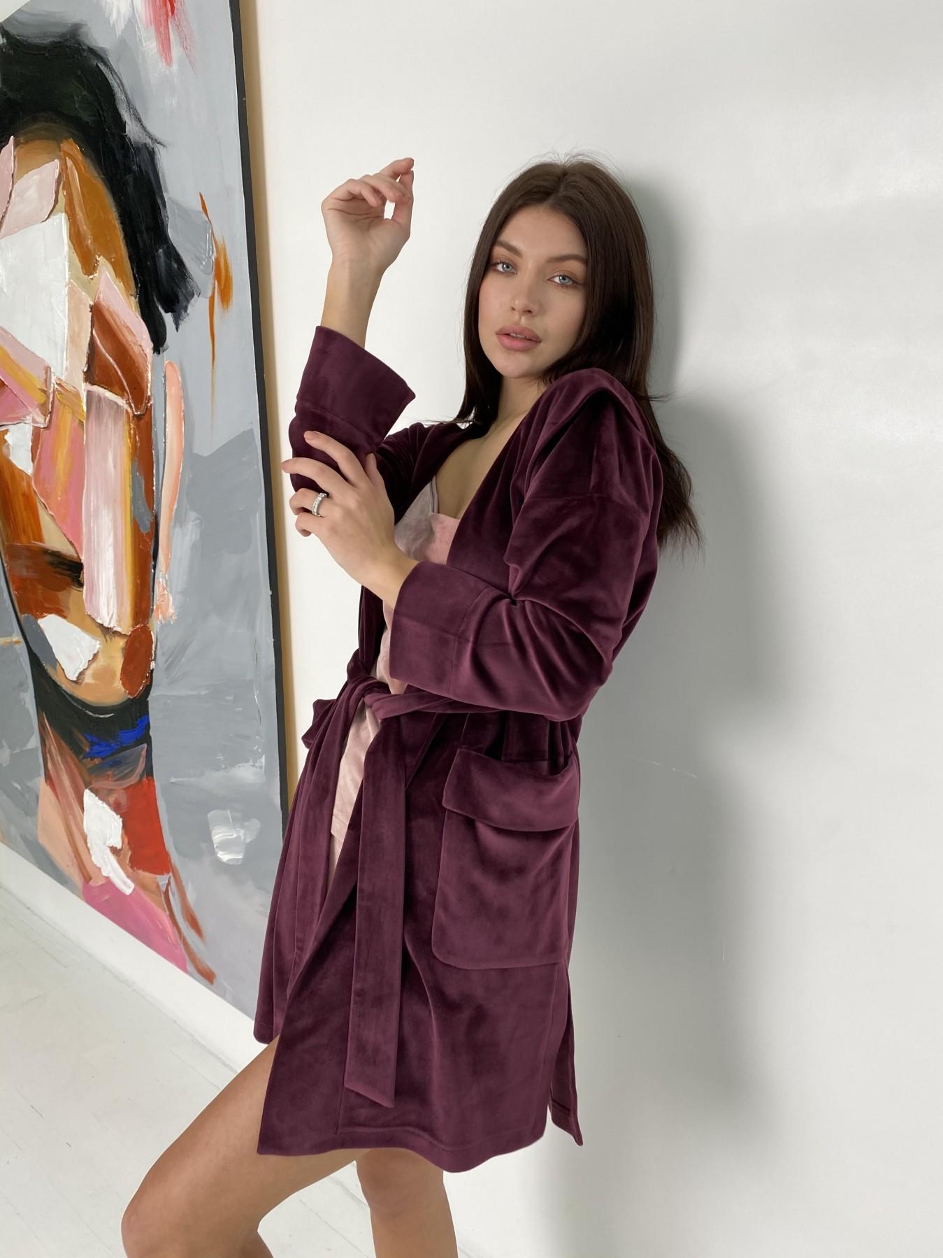 Фабьен халат из  велюровой ткани  10483 АРТ. 46840 Цвет: Марсала - фото 5, интернет магазин tm-modus.ru
