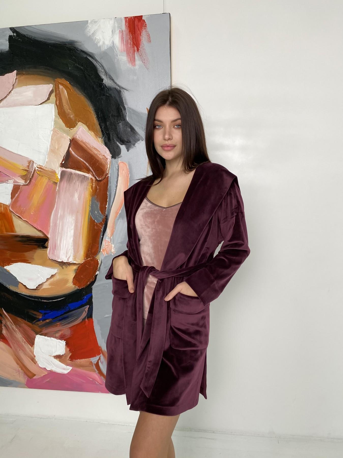 Фабьен халат из  велюровой ткани  10483 АРТ. 46840 Цвет: Марсала - фото 6, интернет магазин tm-modus.ru