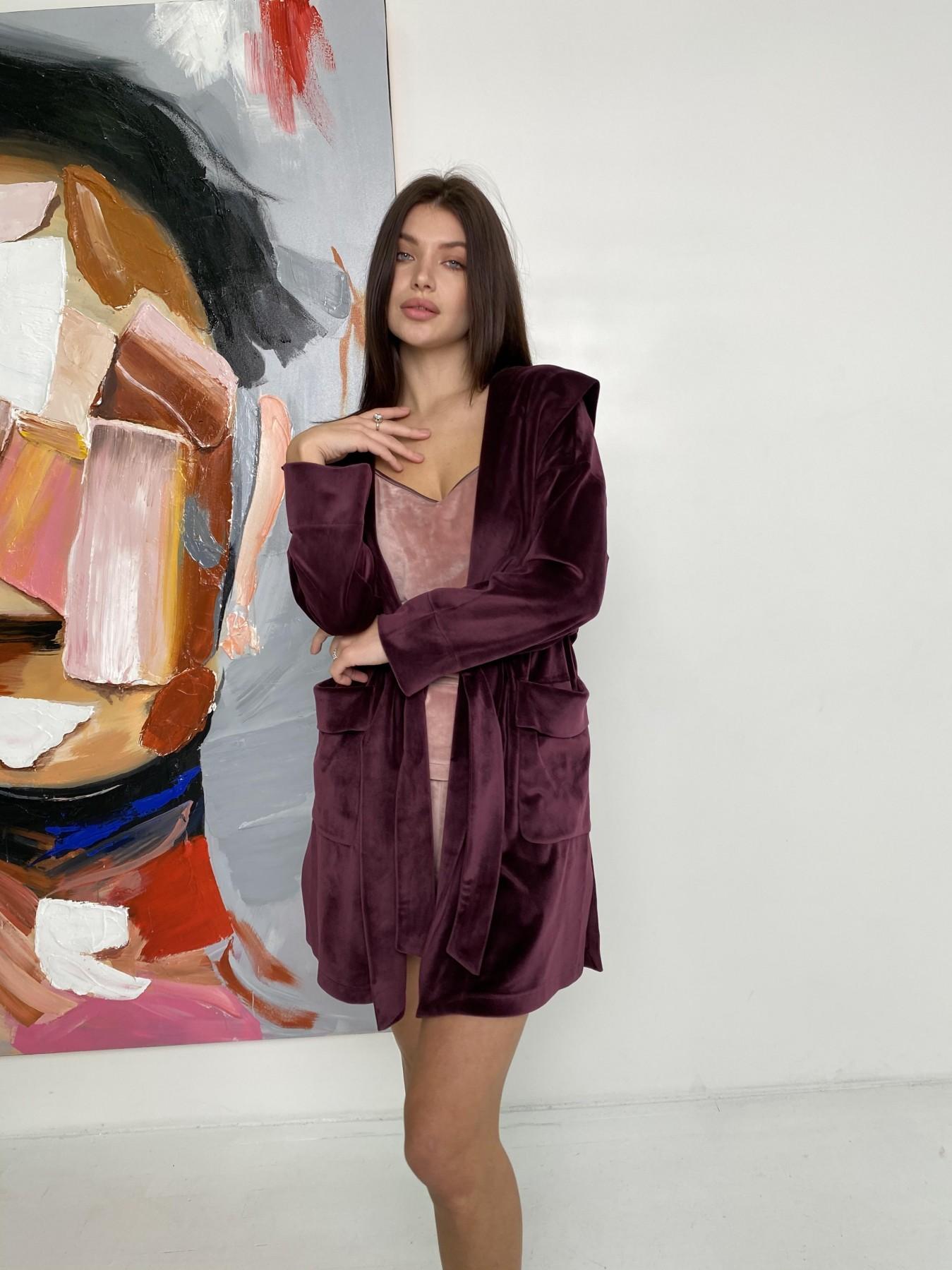 Фабьен халат из  велюровой ткани  10483 АРТ. 46840 Цвет: Марсала - фото 7, интернет магазин tm-modus.ru