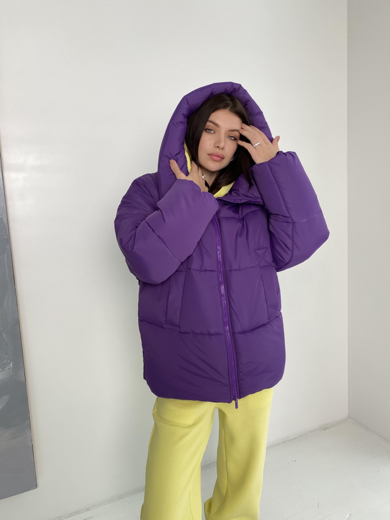 Овертайм  теплый пуховик из плащевой ткани 10243 АРТ. 47045 Цвет: Сиреневый 861 - фото 7, интернет магазин tm-modus.ru