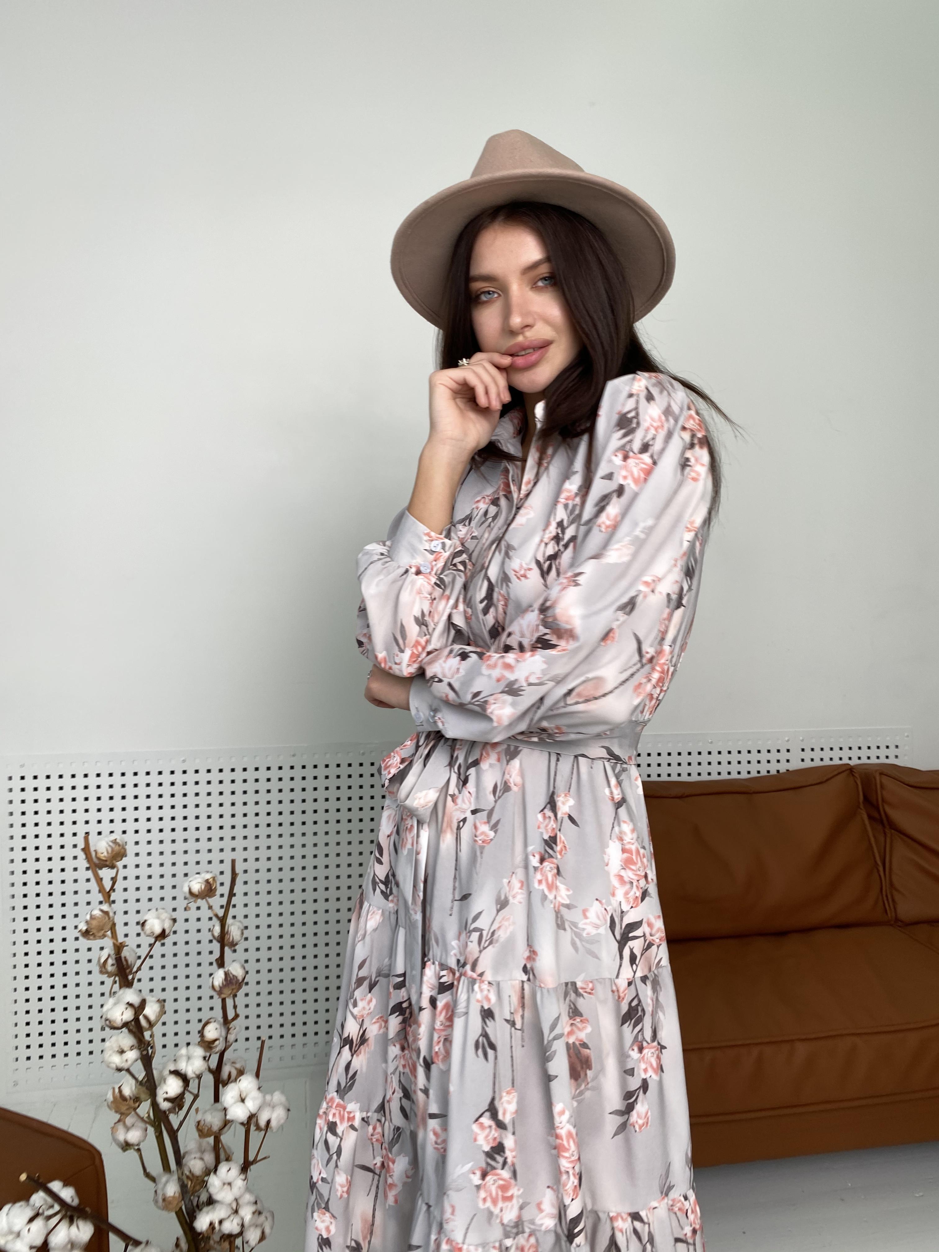 Лилия платье в цветочный принт 9712 АРТ. 46015 Цвет: Цветы кр/цепи Молоко/пудра - фото 1, интернет магазин tm-modus.ru