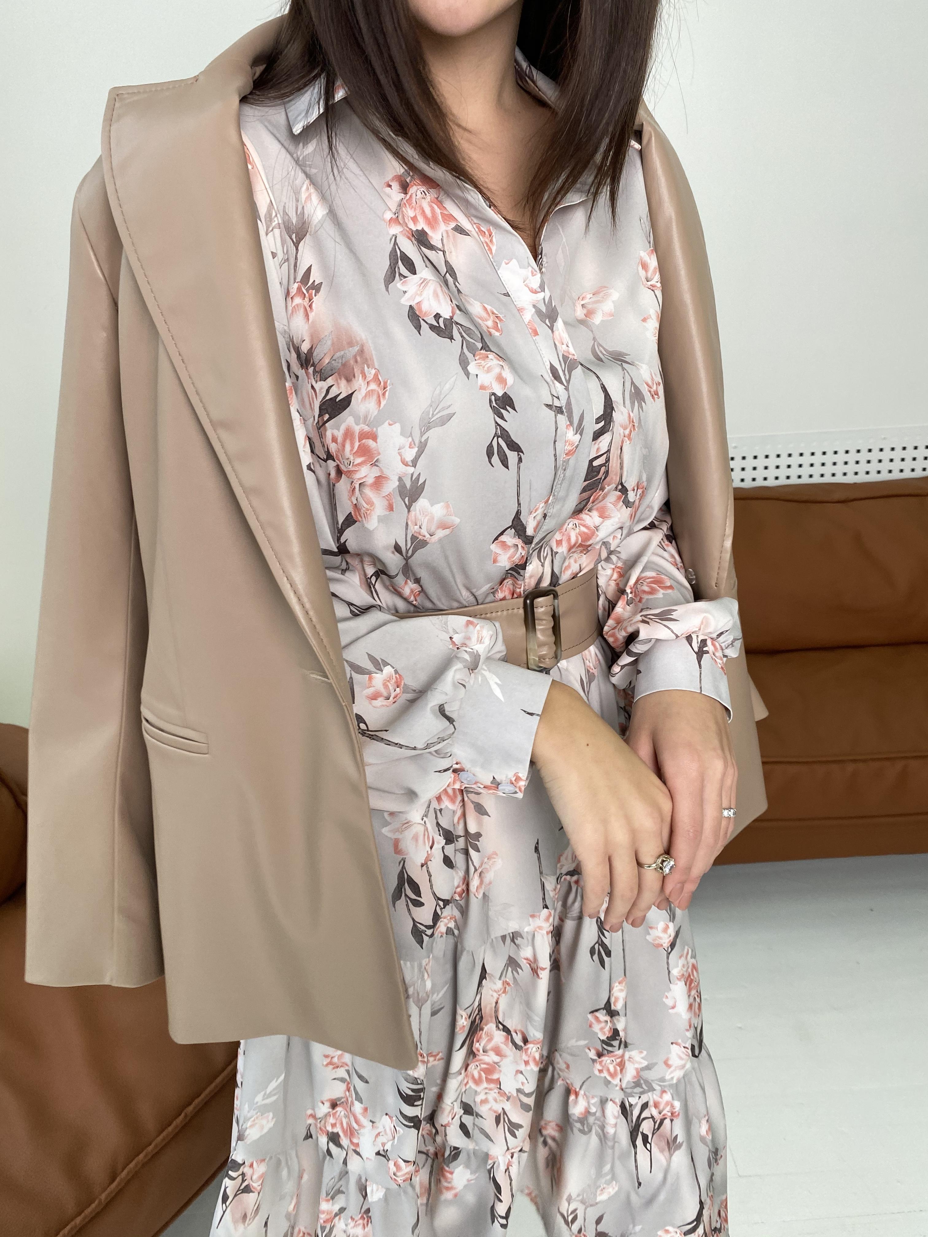 Лилия платье в цветочный принт 9712 АРТ. 46015 Цвет: Цветы кр/цепи Молоко/пудра - фото 3, интернет магазин tm-modus.ru