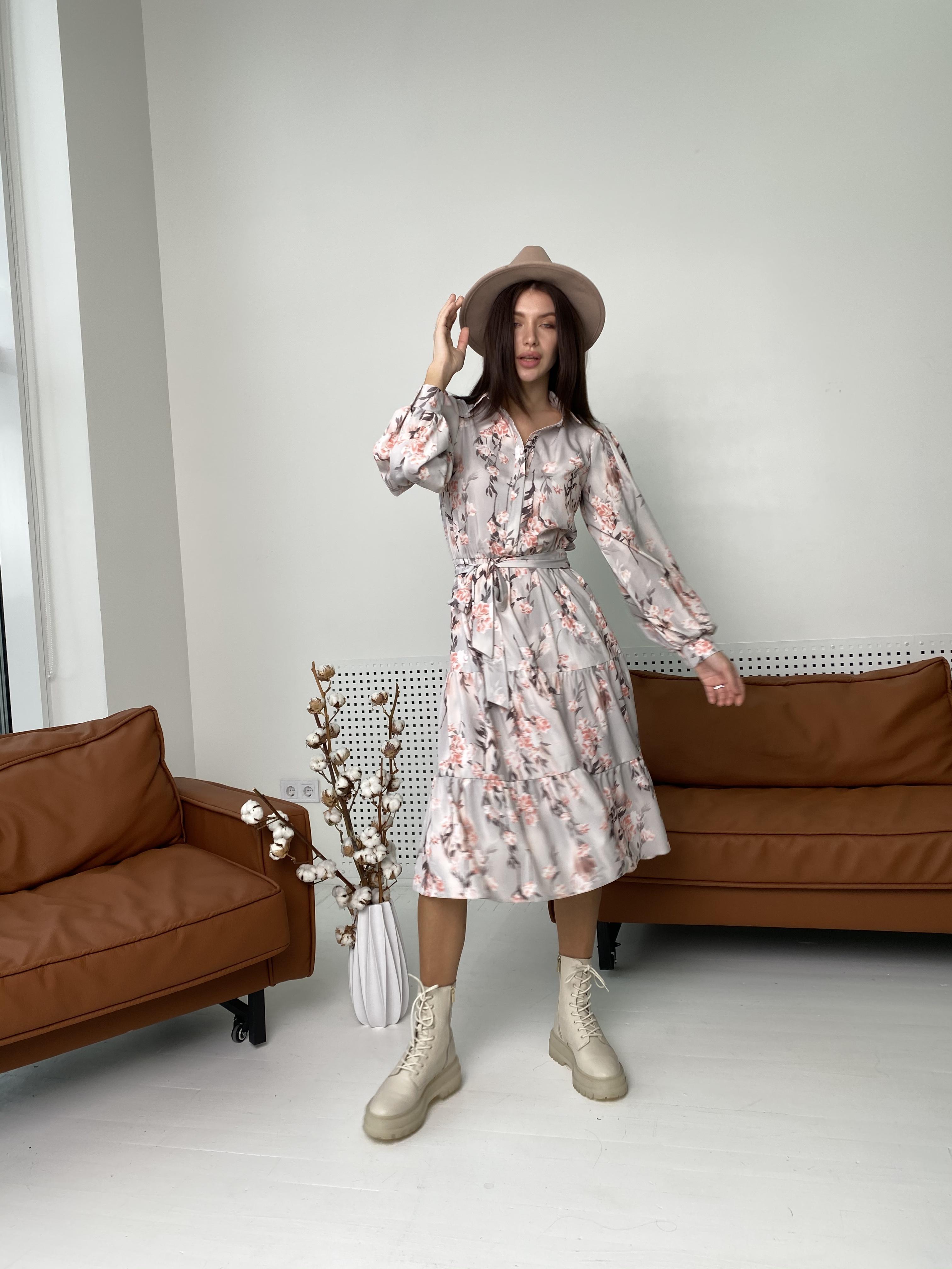 Лилия платье в цветочный принт 9712 АРТ. 46015 Цвет: Цветы кр/цепи Молоко/пудра - фото 5, интернет магазин tm-modus.ru