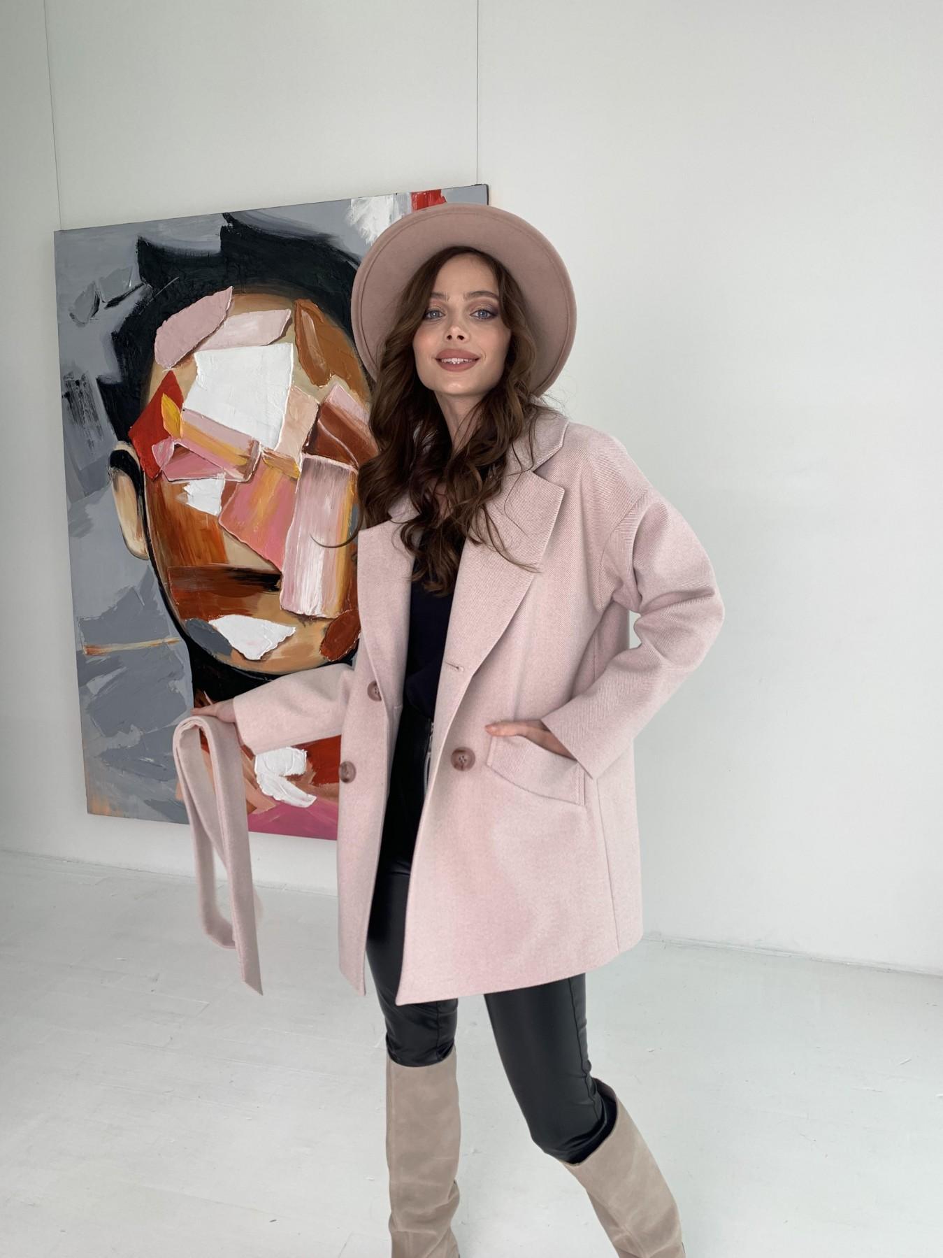 Бонд пальто из пальтовой ткани в мелкую елочку 10640 АРТ. 47007 Цвет: Пудра - фото 1, интернет магазин tm-modus.ru