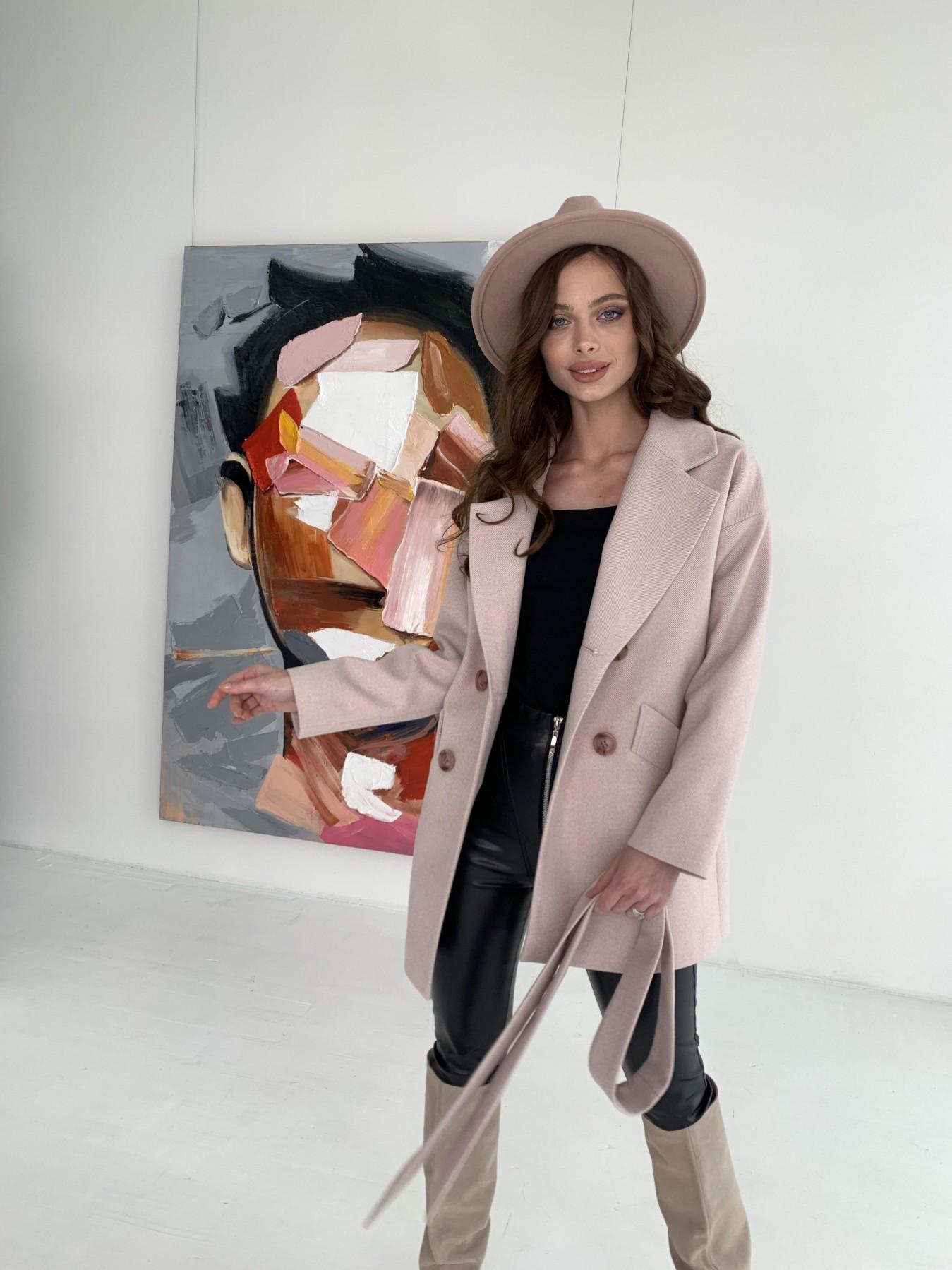 Бонд пальто из пальтовой ткани в мелкую елочку 10640 АРТ. 47007 Цвет: Пудра - фото 2, интернет магазин tm-modus.ru