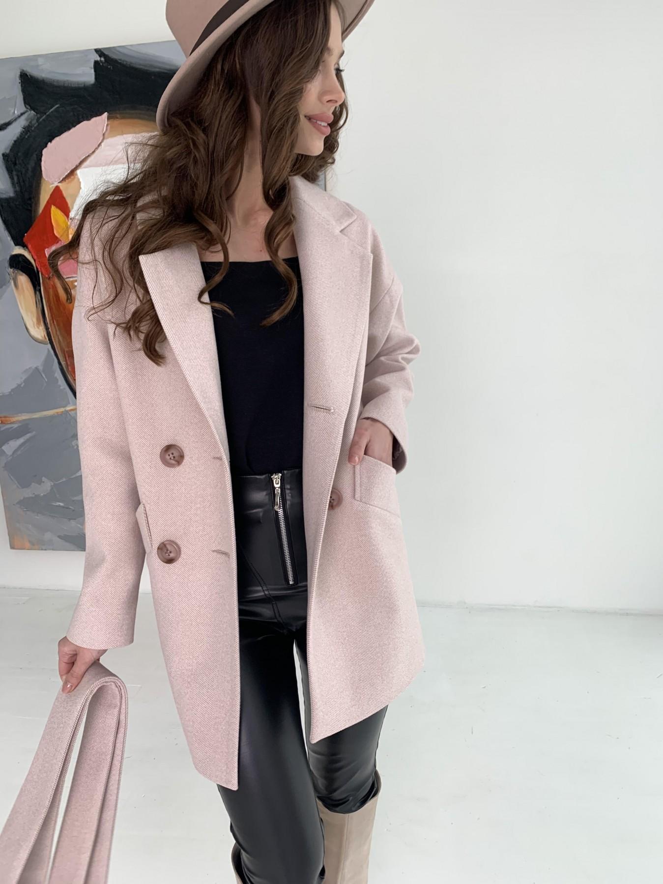 Бонд пальто из пальтовой ткани в мелкую елочку 10640 АРТ. 47007 Цвет: Пудра - фото 3, интернет магазин tm-modus.ru