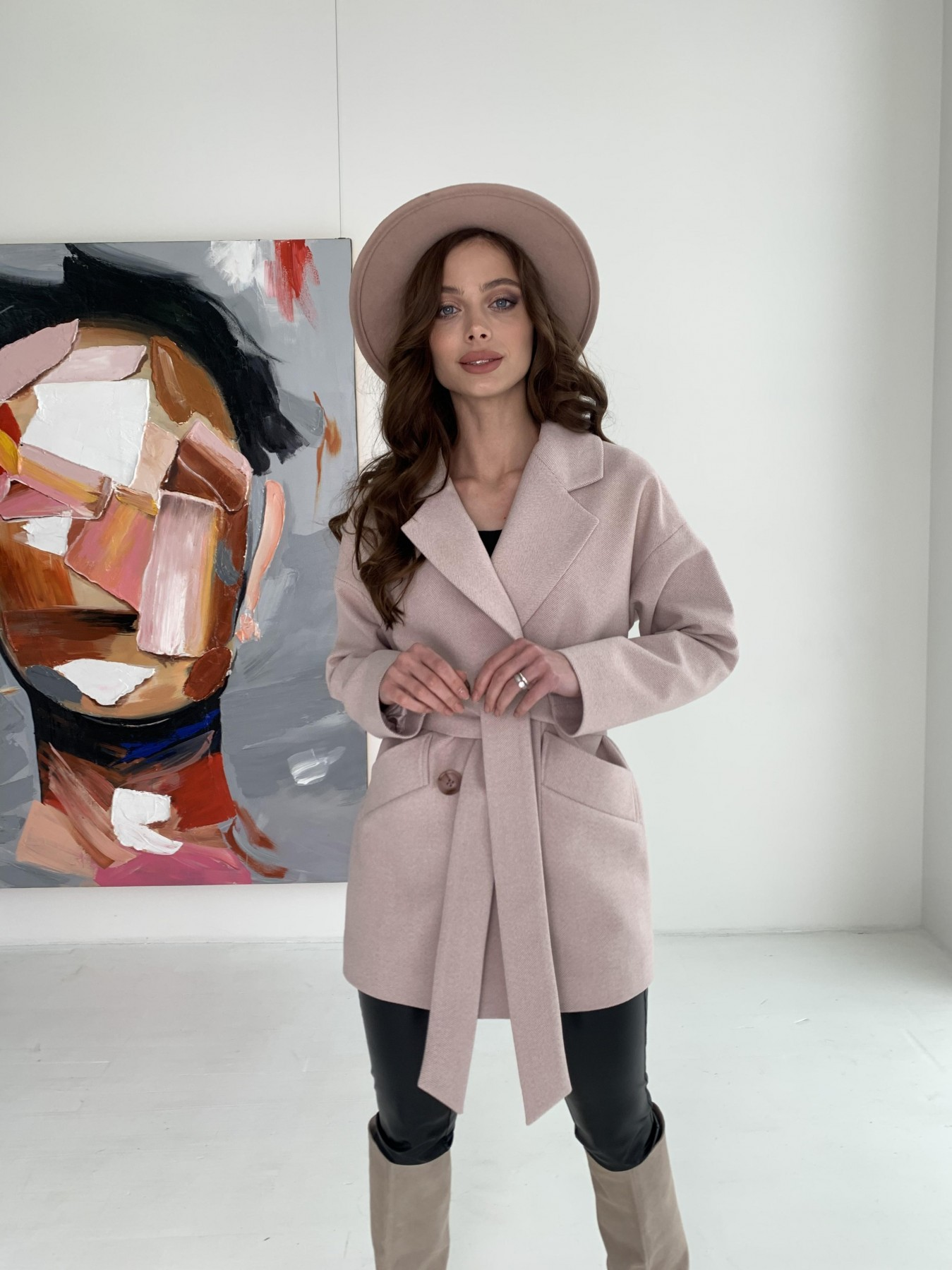 Бонд пальто из пальтовой ткани в мелкую елочку 10640 АРТ. 47007 Цвет: Пудра - фото 5, интернет магазин tm-modus.ru