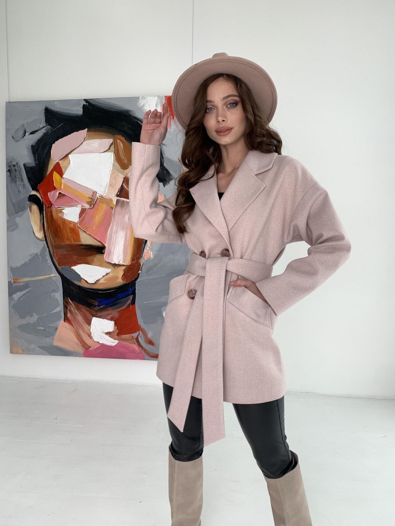 Бонд пальто из пальтовой ткани в мелкую елочку 10640 АРТ. 47007 Цвет: Пудра - фото 6, интернет магазин tm-modus.ru
