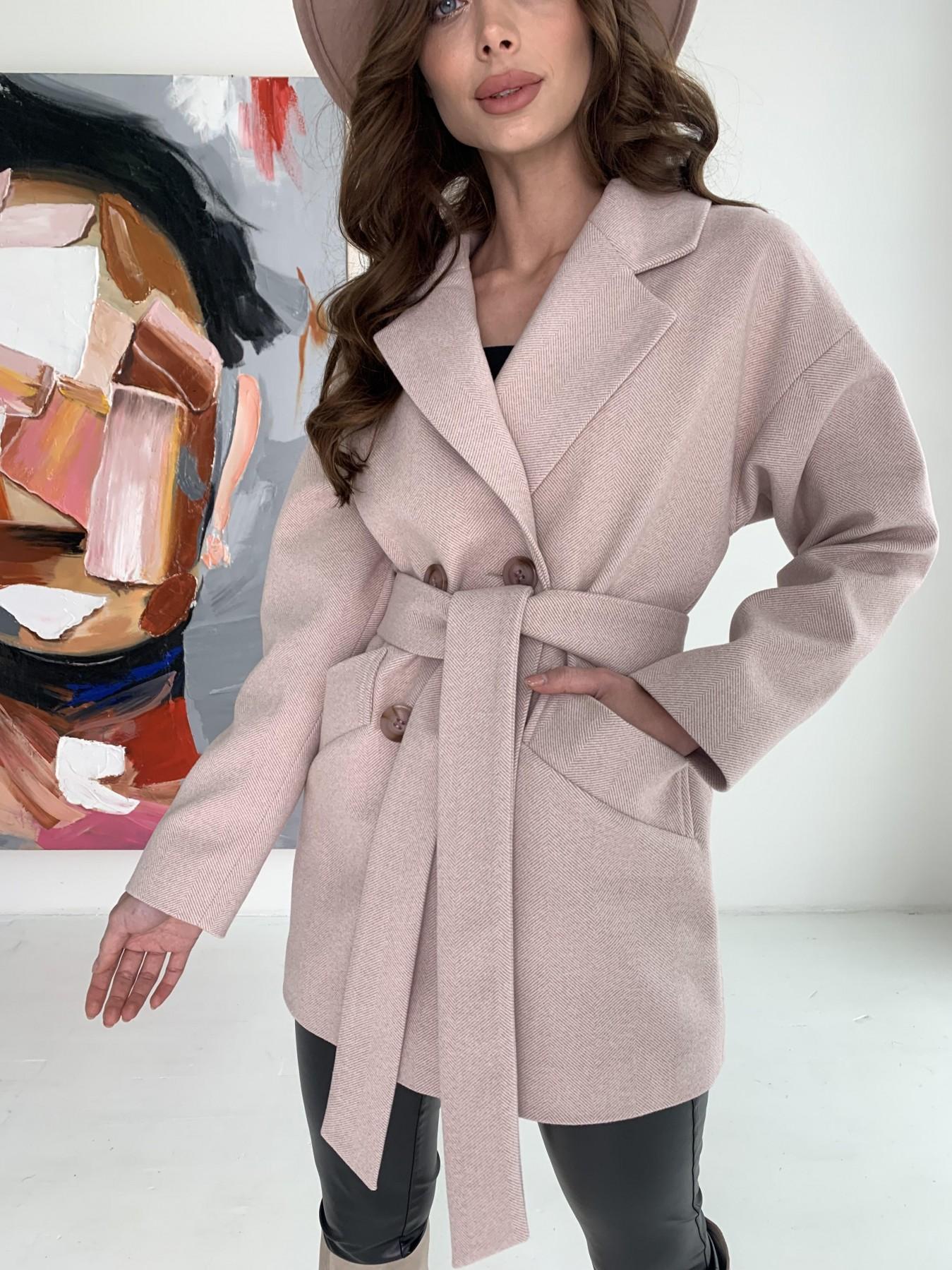 Бонд пальто из пальтовой ткани в мелкую елочку 10640 АРТ. 47007 Цвет: Пудра - фото 8, интернет магазин tm-modus.ru