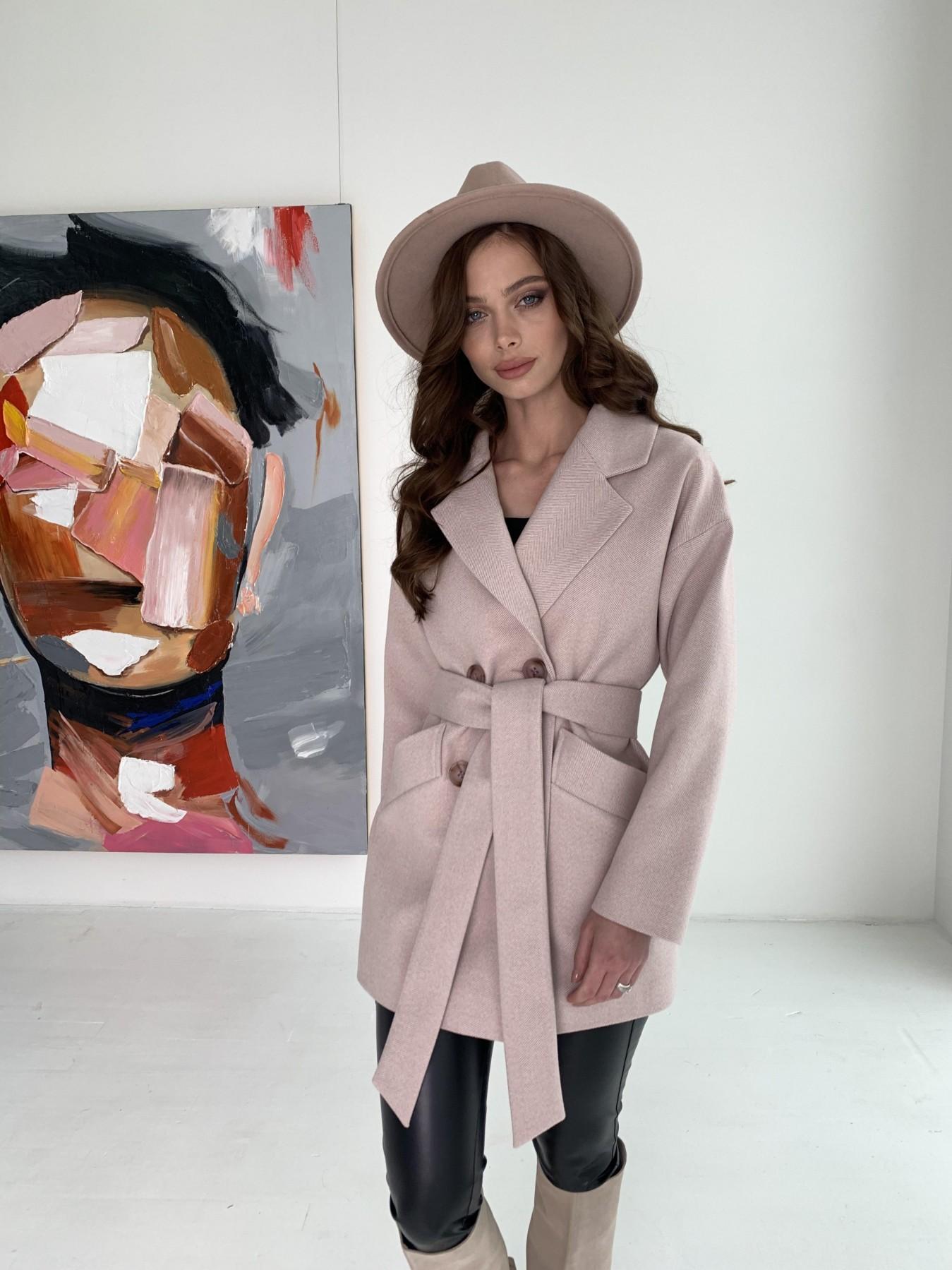 Бонд пальто из пальтовой ткани в мелкую елочку 10640 АРТ. 47007 Цвет: Пудра - фото 9, интернет магазин tm-modus.ru