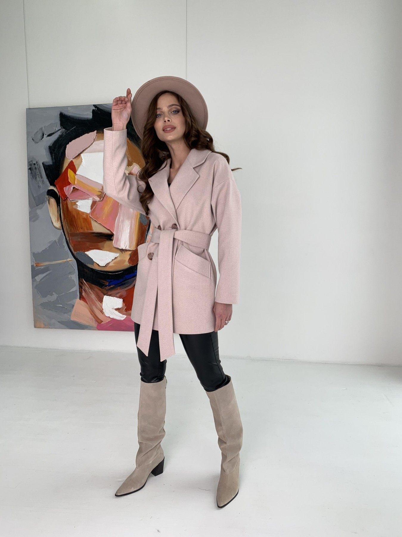 Бонд пальто из пальтовой ткани в мелкую елочку 10640 АРТ. 47007 Цвет: Пудра - фото 10, интернет магазин tm-modus.ru
