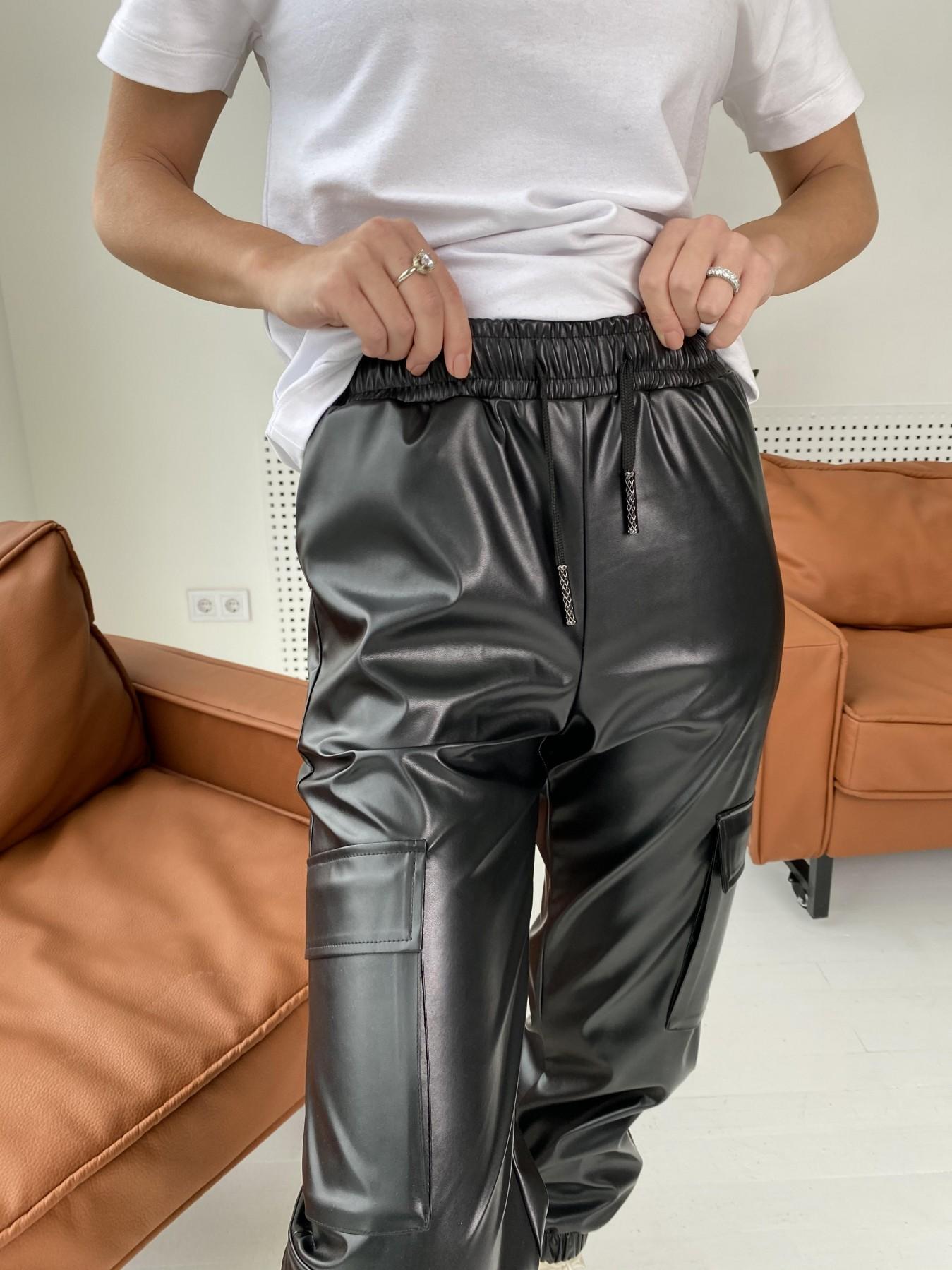 Кьюи брюки из экокожи 10673 АРТ. 47074 Цвет: Черный - фото 2, интернет магазин tm-modus.ru