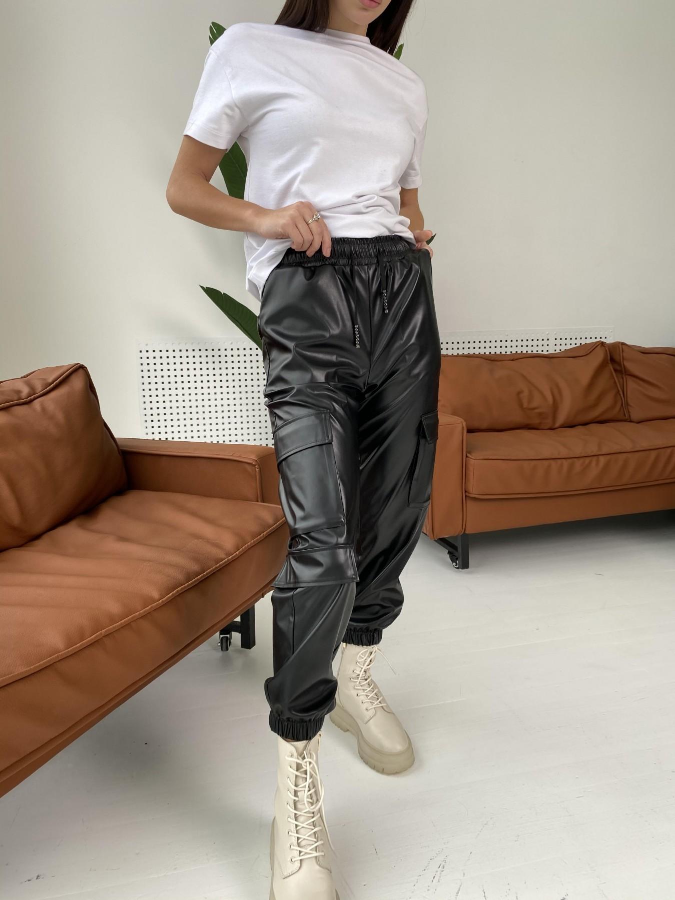 Кьюи брюки из экокожи 10673 АРТ. 47074 Цвет: Черный - фото 6, интернет магазин tm-modus.ru