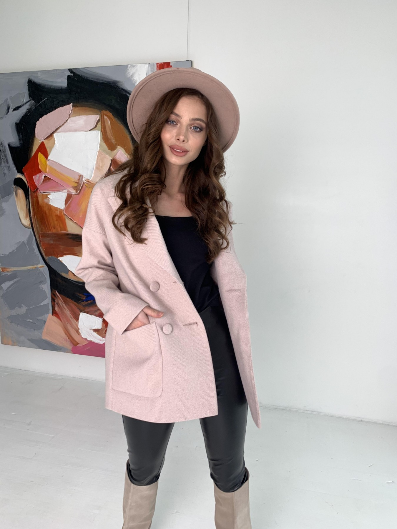 Мансера пальто в мелкую елочку из пальтовой ткани 10627 АРТ. 47001 Цвет: Пудра - фото 1, интернет магазин tm-modus.ru