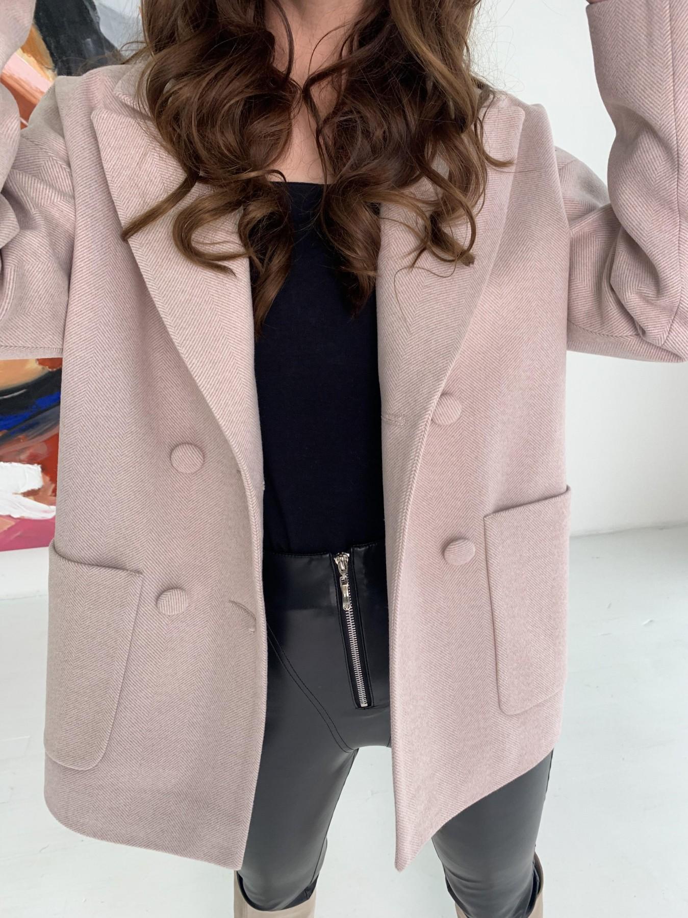 Мансера пальто в мелкую елочку из пальтовой ткани 10627 АРТ. 47001 Цвет: Пудра - фото 2, интернет магазин tm-modus.ru
