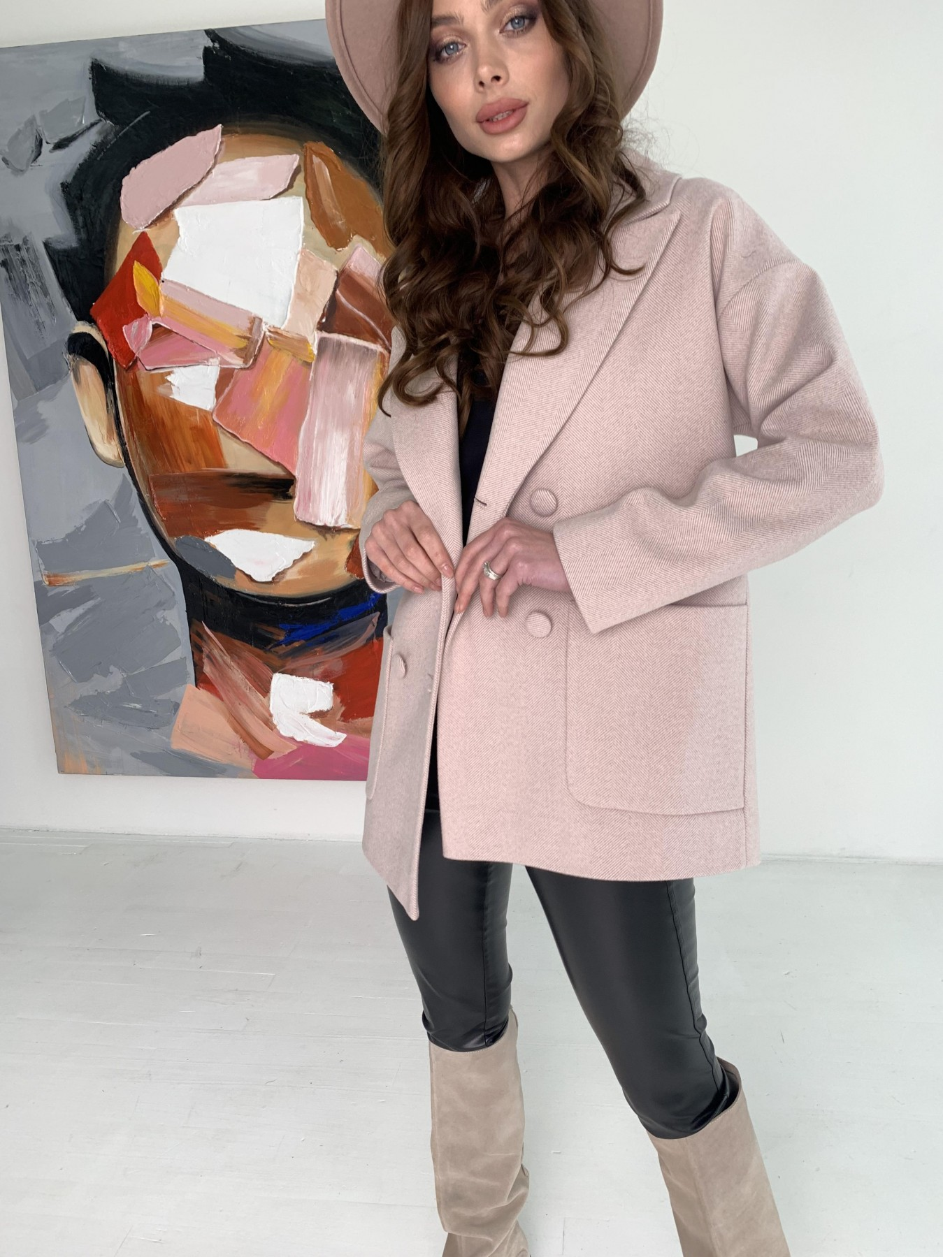 Мансера пальто в мелкую елочку из пальтовой ткани 10627 АРТ. 47001 Цвет: Пудра - фото 3, интернет магазин tm-modus.ru