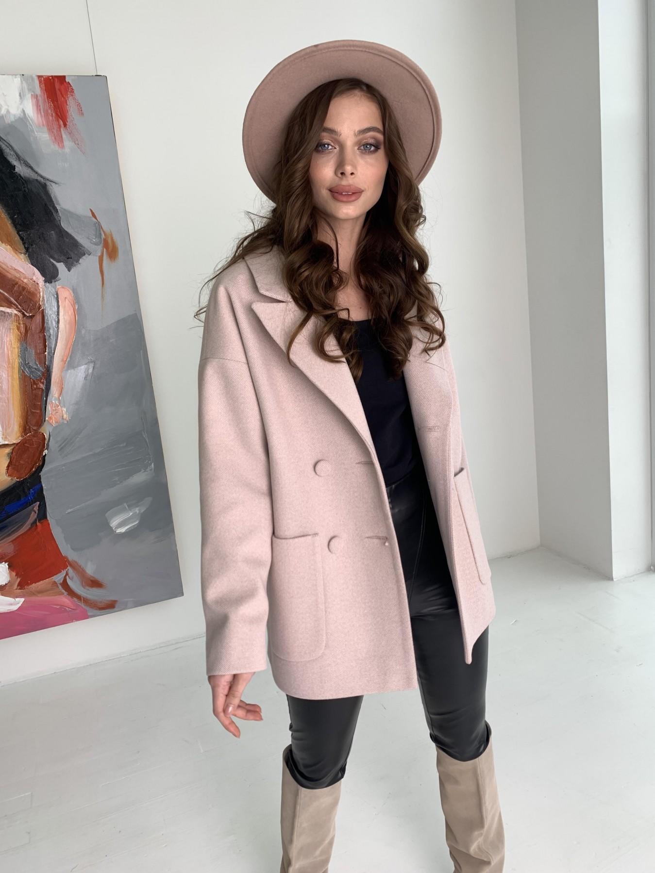 Мансера пальто в мелкую елочку из пальтовой ткани 10627 АРТ. 47001 Цвет: Пудра - фото 5, интернет магазин tm-modus.ru