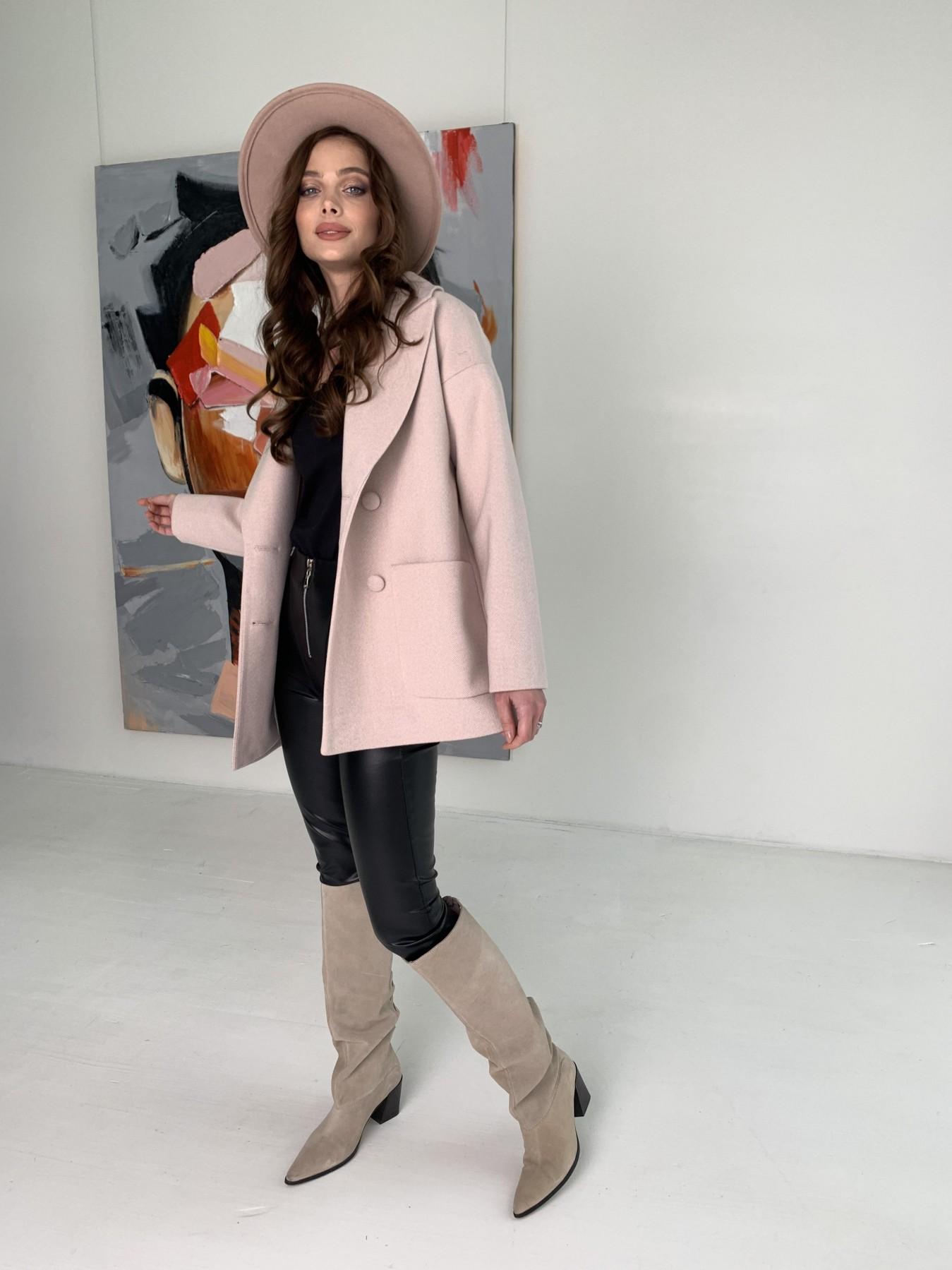 Мансера пальто в мелкую елочку из пальтовой ткани 10627 АРТ. 47001 Цвет: Пудра - фото 6, интернет магазин tm-modus.ru