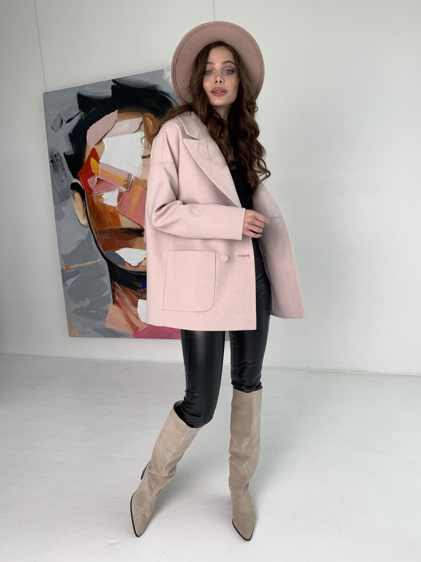 Мансера пальто в мелкую елочку из пальтовой ткани 10627 АРТ. 47001 Цвет: Пудра - фото 7, интернет магазин tm-modus.ru