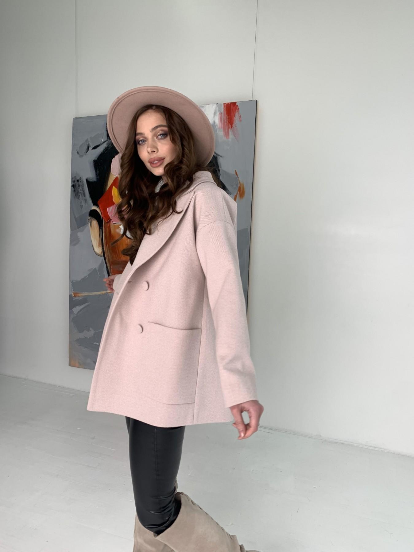 Мансера пальто в мелкую елочку из пальтовой ткани 10627 АРТ. 47001 Цвет: Пудра - фото 8, интернет магазин tm-modus.ru
