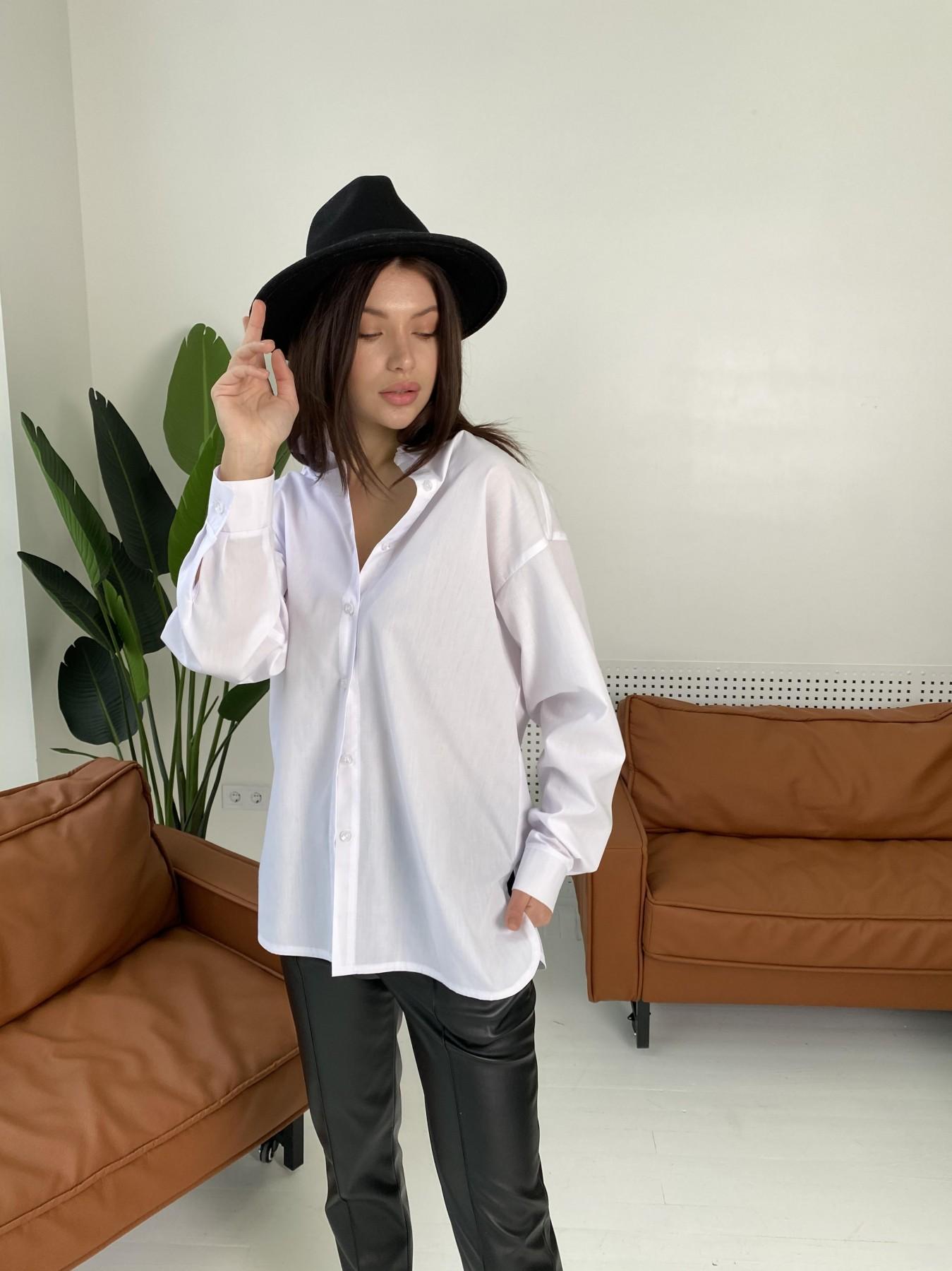 Найс рубашка из хлопковой ткани 10808 АРТ. 47287 Цвет: Белый - фото 1, интернет магазин tm-modus.ru