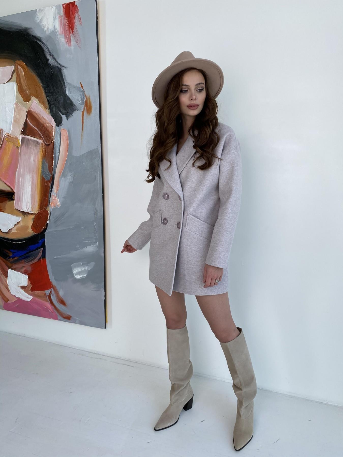 Бонд пальто  кашемировое меланж на трикотаже  10644 АРТ. 47161 Цвет: Бежевый меланж - фото 1, интернет магазин tm-modus.ru