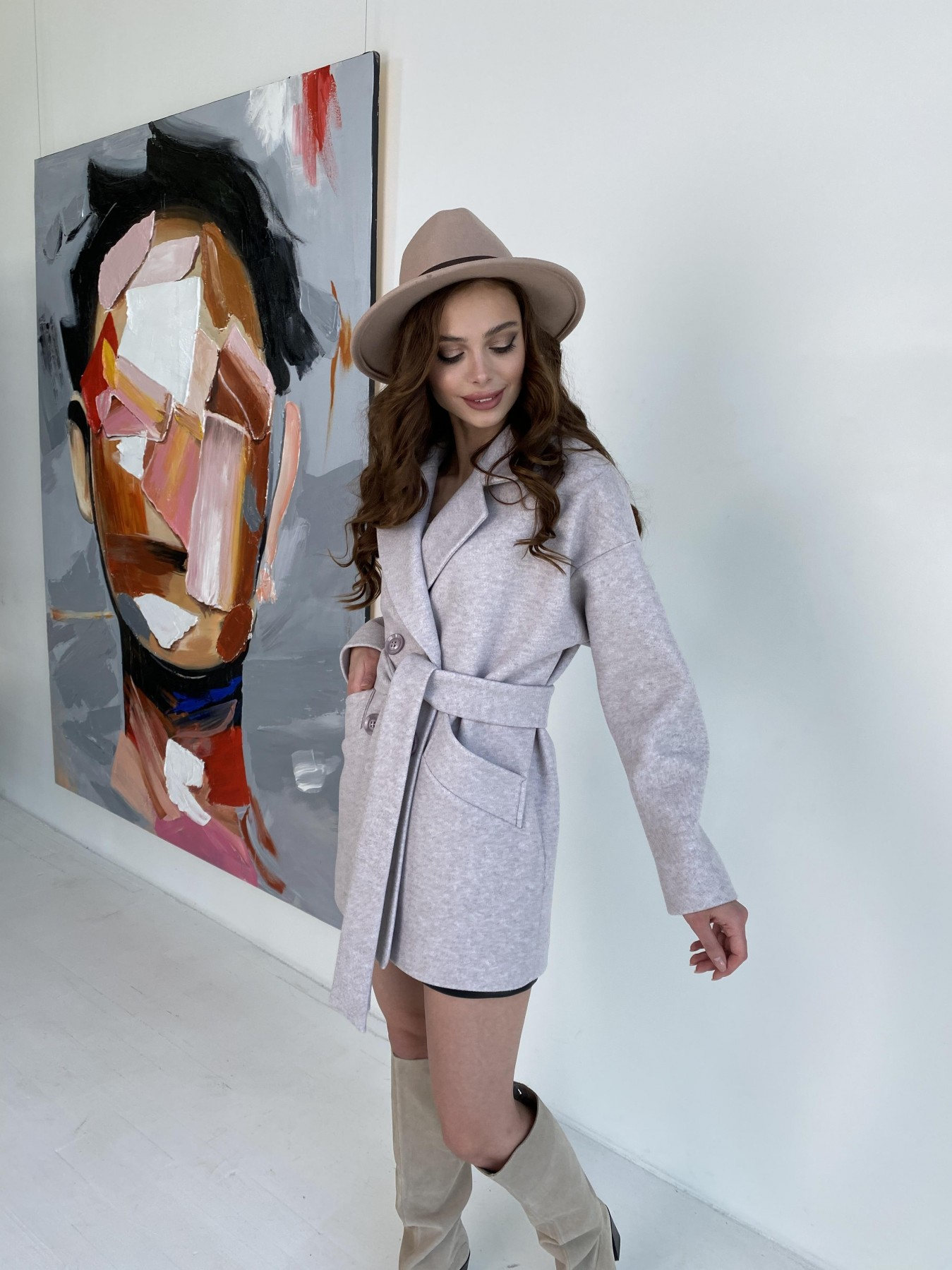 Бонд пальто  кашемировое меланж на трикотаже  10644 АРТ. 47161 Цвет: Бежевый меланж - фото 8, интернет магазин tm-modus.ru