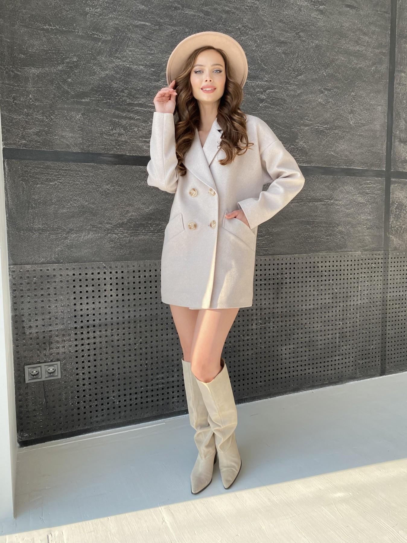 Бонд Диагональ пальто из пальтовой ткани  10757 АРТ. 47189 Цвет: Бежевый - фото 1, интернет магазин tm-modus.ru