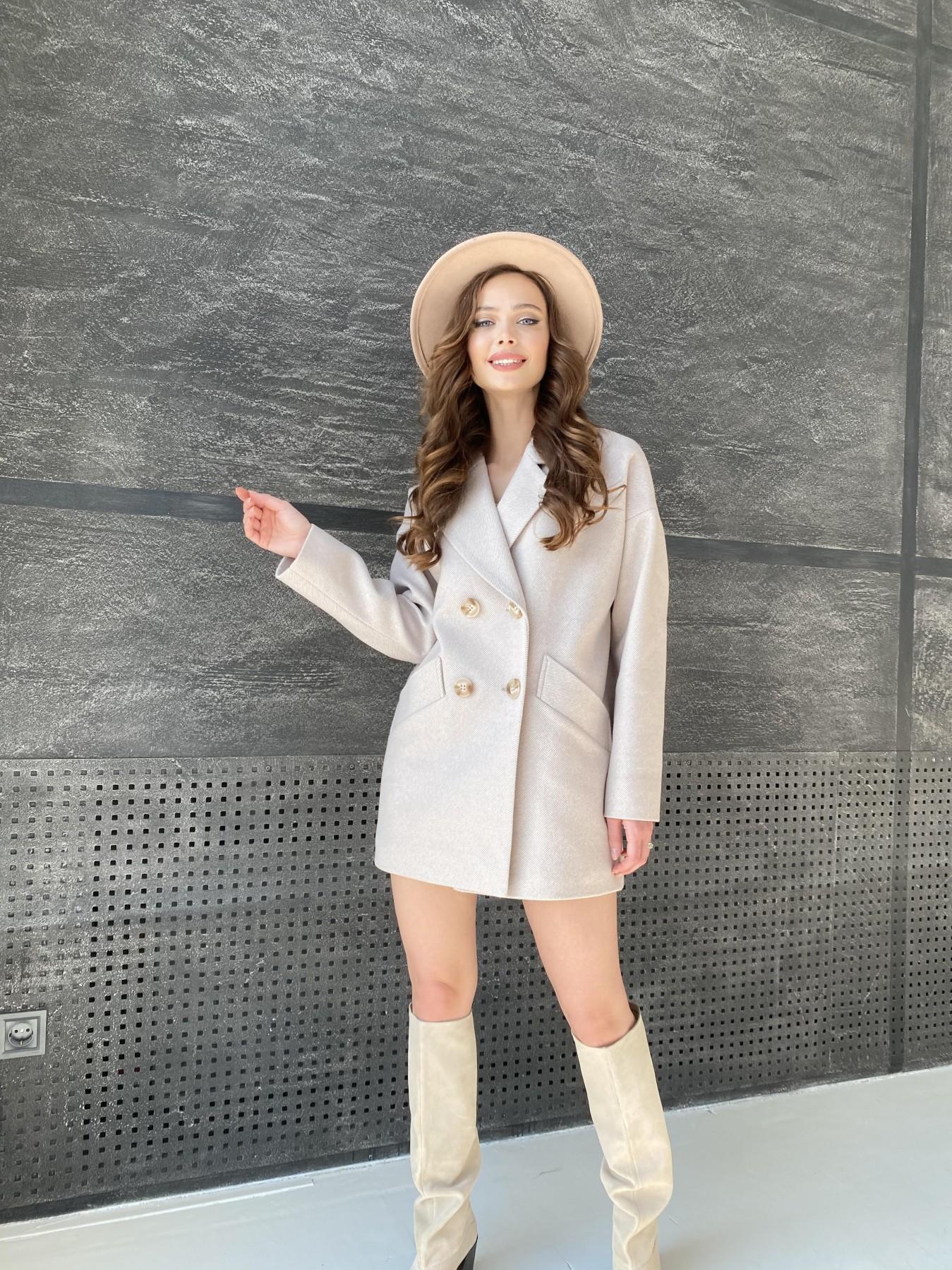 Бонд Диагональ пальто из пальтовой ткани  10757 АРТ. 47189 Цвет: Бежевый - фото 3, интернет магазин tm-modus.ru
