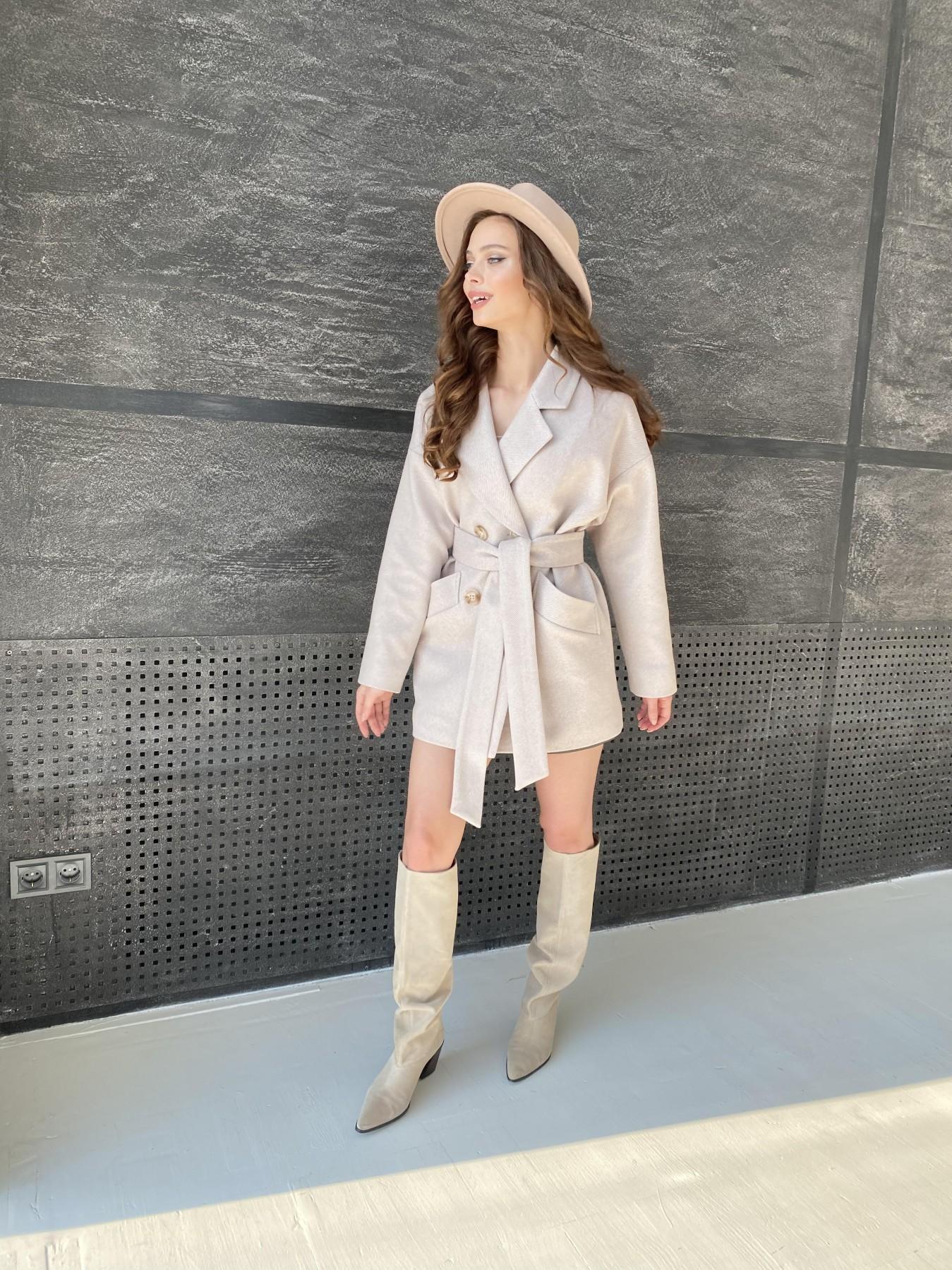 Бонд Диагональ пальто из пальтовой ткани  10757 АРТ. 47189 Цвет: Бежевый - фото 5, интернет магазин tm-modus.ru