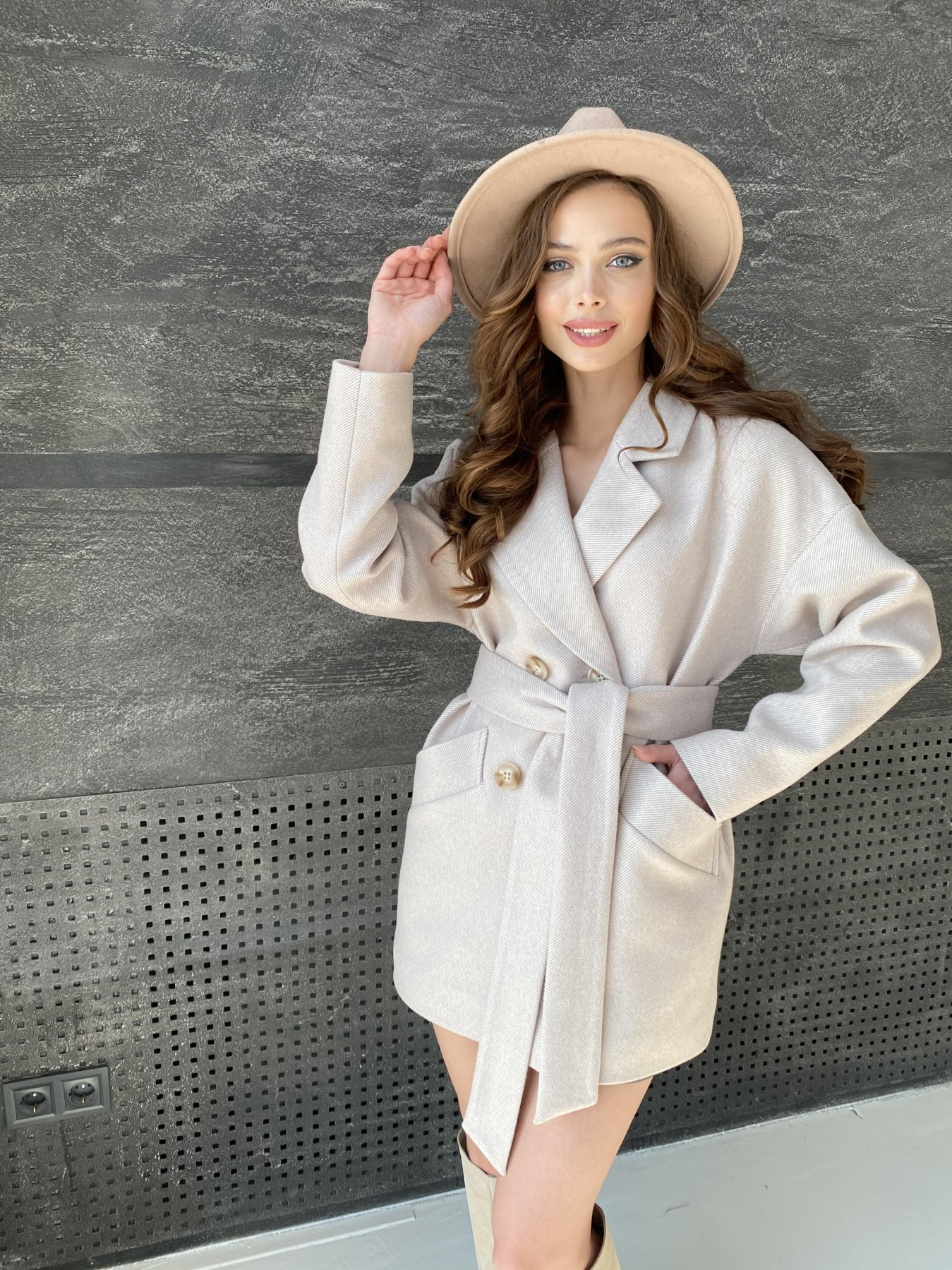 Бонд Диагональ пальто из пальтовой ткани  10757 АРТ. 47189 Цвет: Бежевый - фото 6, интернет магазин tm-modus.ru