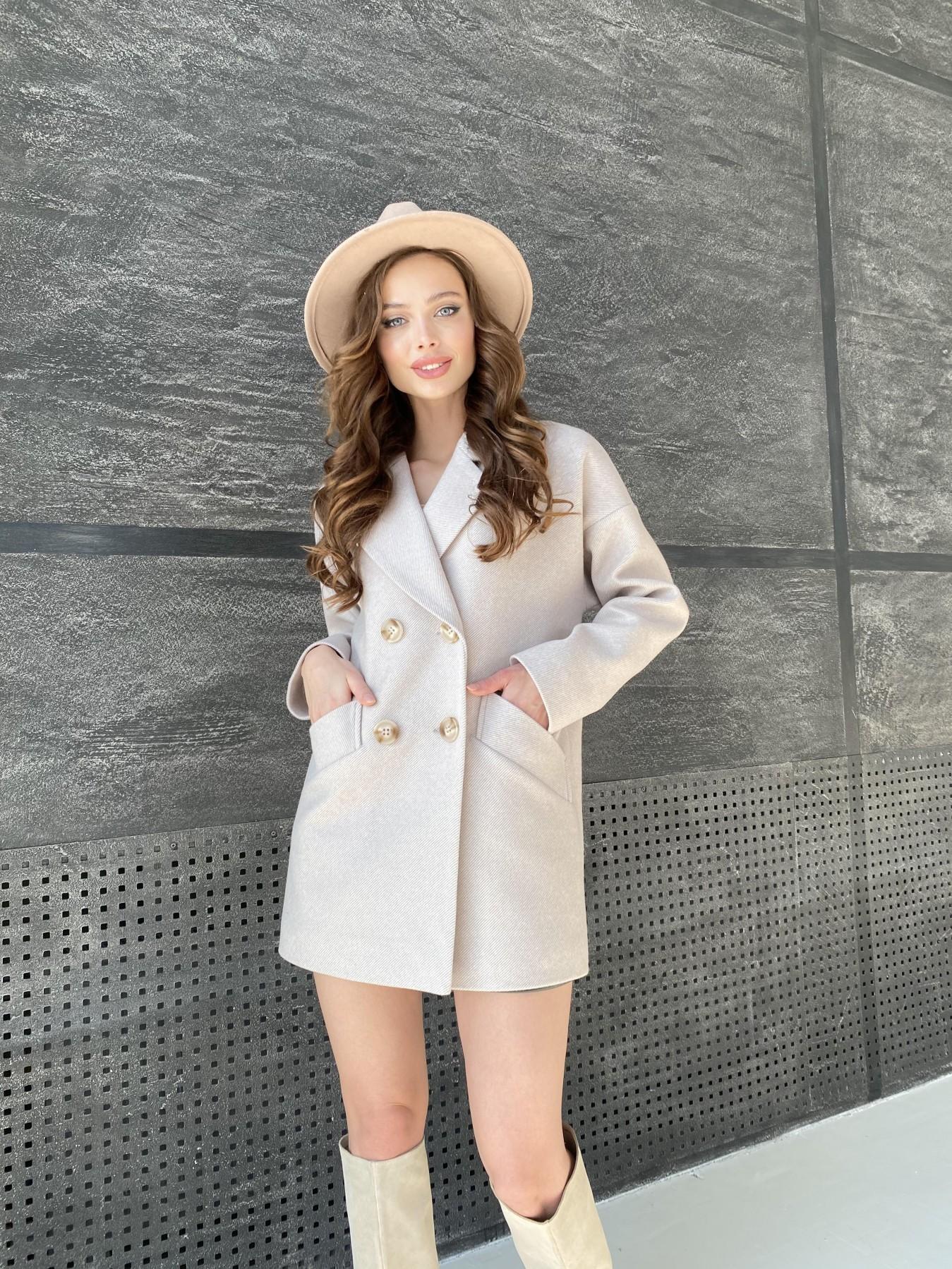 Бонд Диагональ пальто из пальтовой ткани  10757 АРТ. 47189 Цвет: Бежевый - фото 8, интернет магазин tm-modus.ru