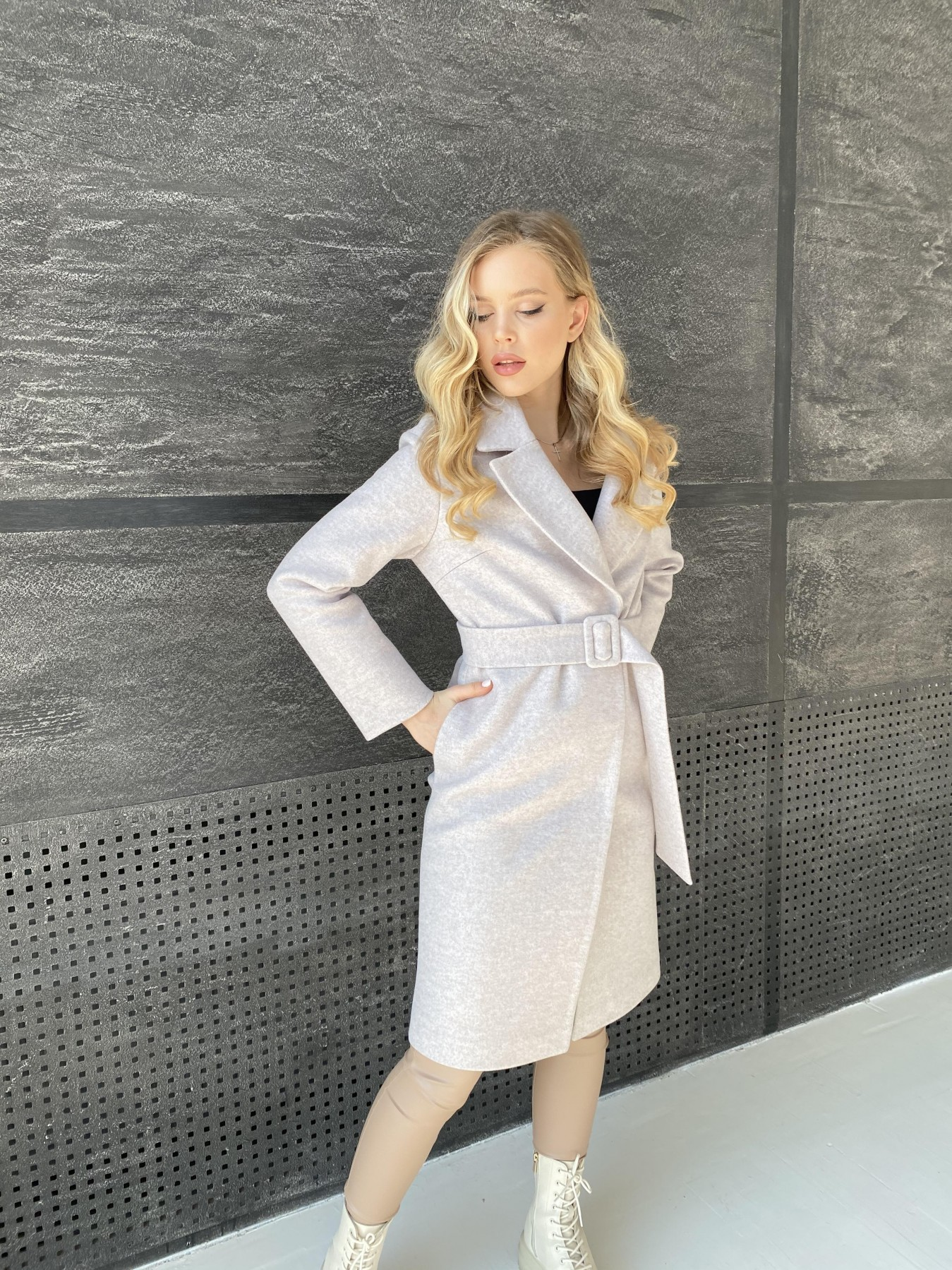 Севен пальто меланж  из кашемира 10625 АРТ. 47160 Цвет: Бежевый меланж - фото 5, интернет магазин tm-modus.ru