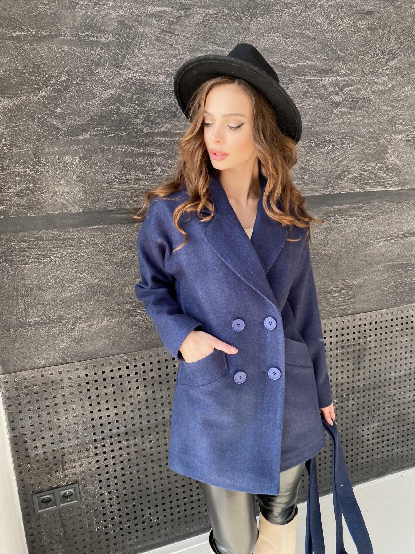 Бонд пальто  кашемировое меланж на трикотаже  10644 АРТ. 47180 Цвет: Т.синий 17 - фото 2, интернет магазин tm-modus.ru