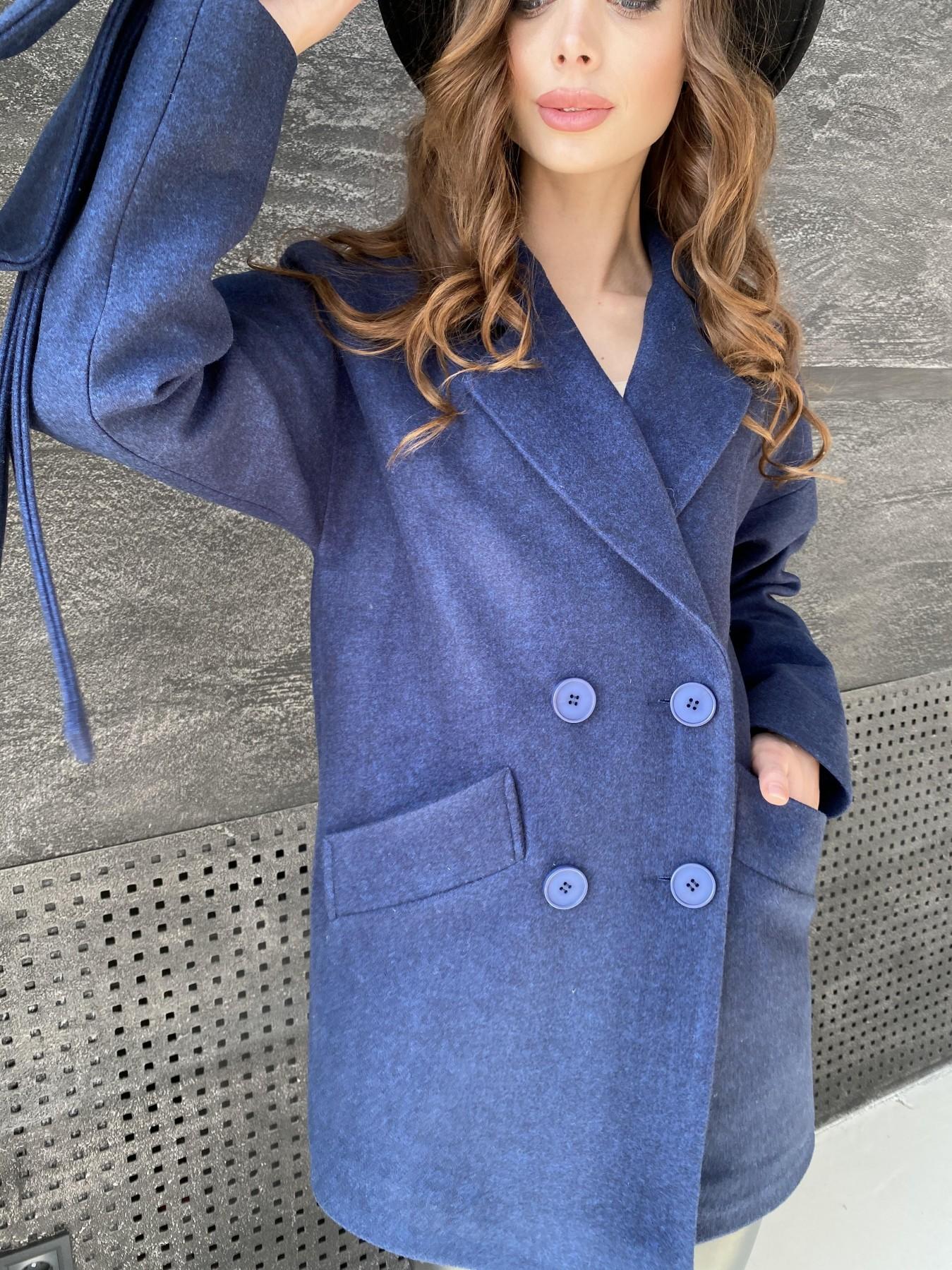 Бонд пальто  кашемировое меланж на трикотаже  10644 АРТ. 47180 Цвет: Т.синий 17 - фото 3, интернет магазин tm-modus.ru
